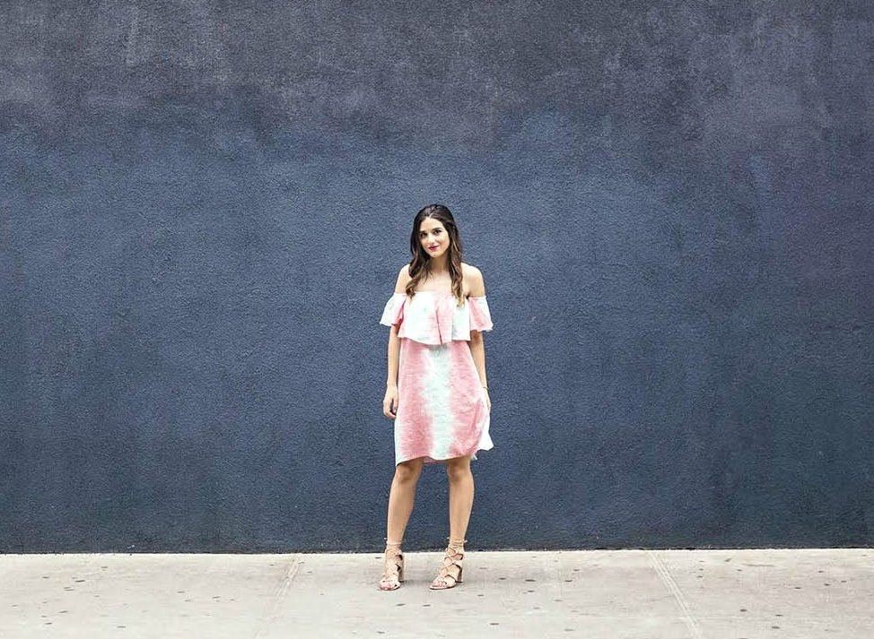 Pastel Tie-Dye Dress Shop Trescool Louboutins & Love Fashion Blog Esther Santer NYC Street Style Blogger Outfit OOTD Trendy Cold Shoulders Black Blue Women Girl Hair Curly Brown Green Pink Red Lip Makeup Heels Lace Up Gray Lady Fashion Bracelet Choker.jpg