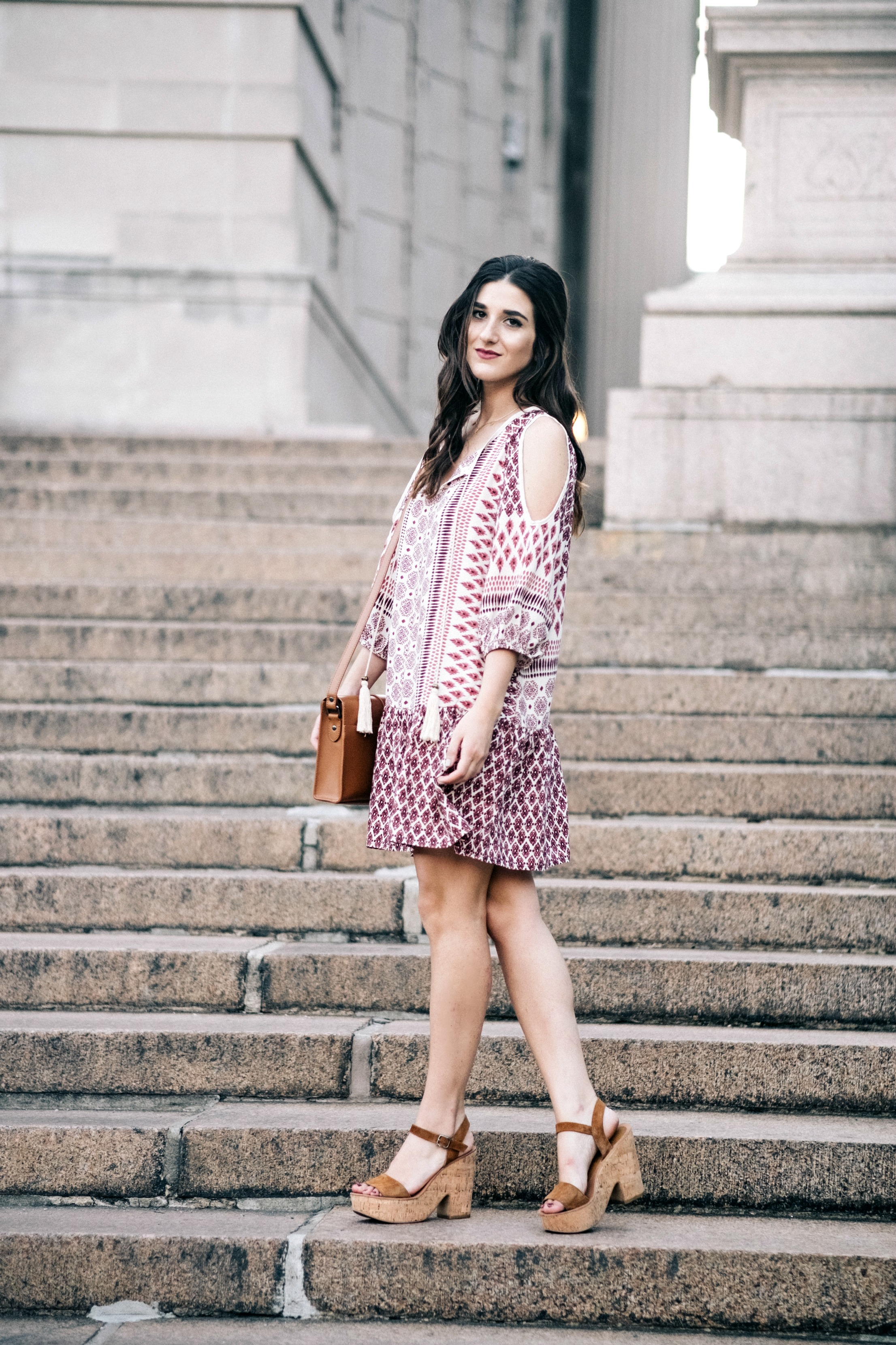 Printed Boho Dress West Kei Louboutins & Love Fashion Blog Esther Santer NYC Street Style Blogger Outfit OOTD Trendy Tassels Pattern Tan Crossbody Elk Accessories Bag Gold Choker Jewelry Hair Women Inspo Snake Bracelet Dolce Vita Cork Wedges Summer.jpg