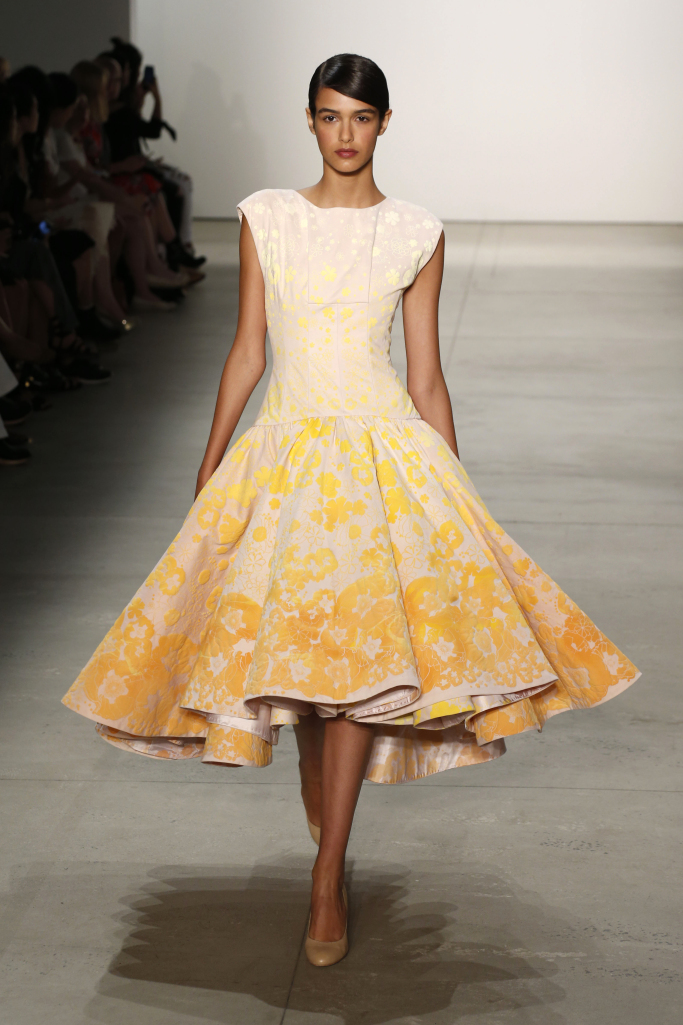 NYFW Supima Design Competition 2017 Louboutins & Love Fashion Blog Esther Santer NYC Street Style Cute Gown Evening Wear Young Designers Olivia Culpo Edgy Chic Pretty Elegant Punk Cotton Dress Yellow.jpg