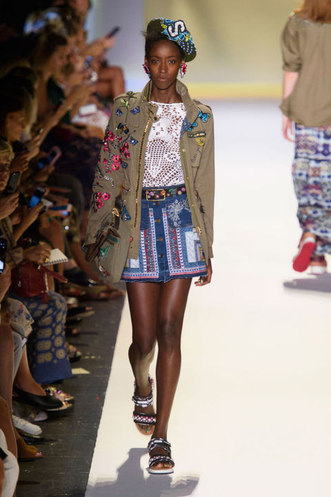 NYFW Desigual Fashion Show Spring Summer 2017 Louboutins & Love Fashion Blog Esther Santer NYC Street Style Ready To Wear Embellishments Denim Tribal Stripes Casual Jeans Swimsuit Bikini Shirt Hat Skirt Dress Az.jpg