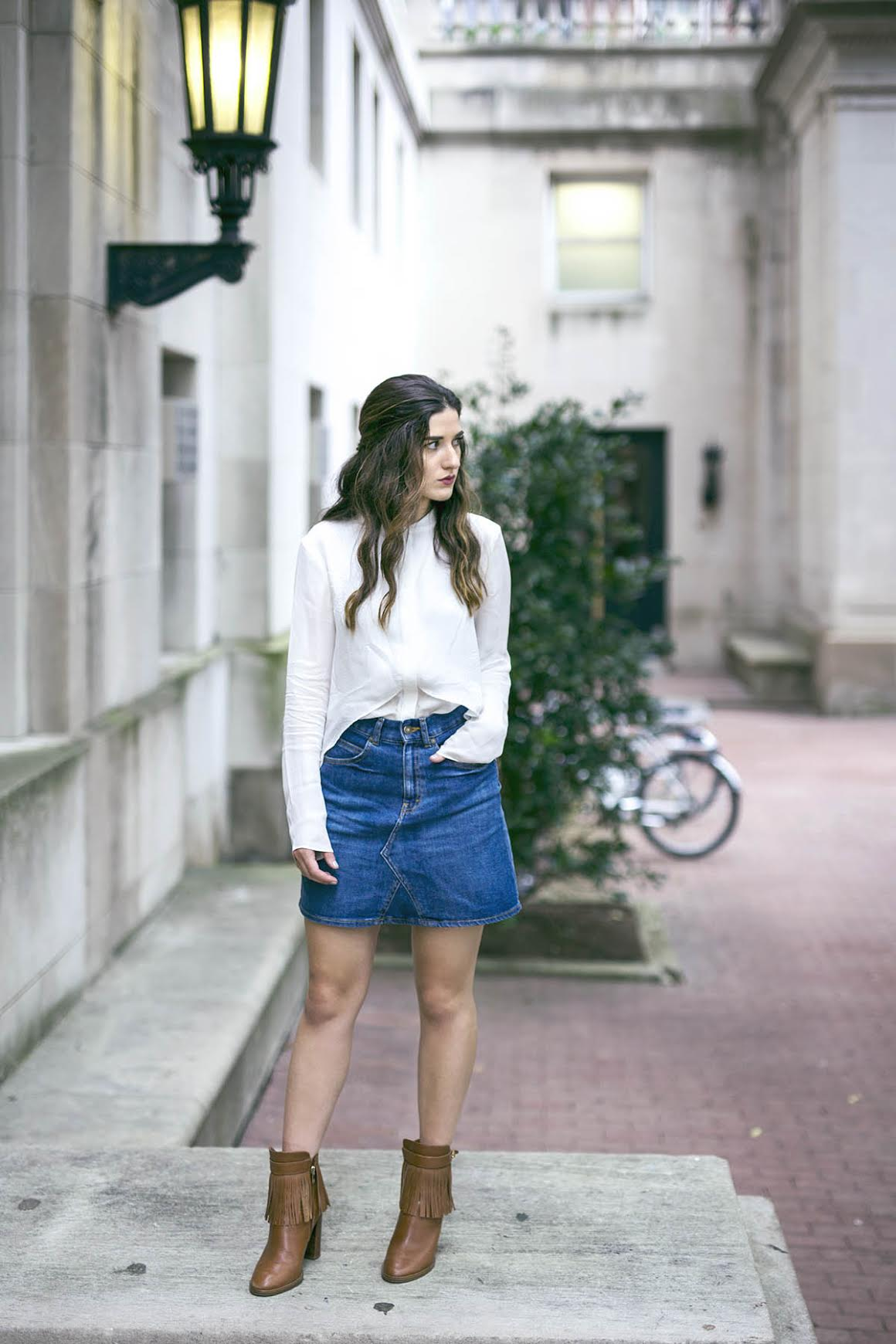 White Silk Top Chelsea and Walker Louboutins & Love Fashion Blog Esther Santer NYC Street Style Blogger Outfit OOTD Trendy Jean Denim Skirt Zara Clutch Bag Erin Dana Gold Chain Ivanka Trump Fringe Booties Inspo Cute Women Girl Transitional Pieces Fall.jpg