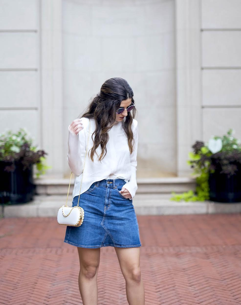 White Silk Top Chelsea and Walker Louboutins & Love Fashion Blog Esther Santer NYC Street Style Blogger Outfit OOTD Trendy Jean Denim Skirt Zara Clutch Bag Erin Dana Gold Chain Ivanka Trump Fringe Booties Inspo Top Women Girl Transitional Pieces Fall.jpg