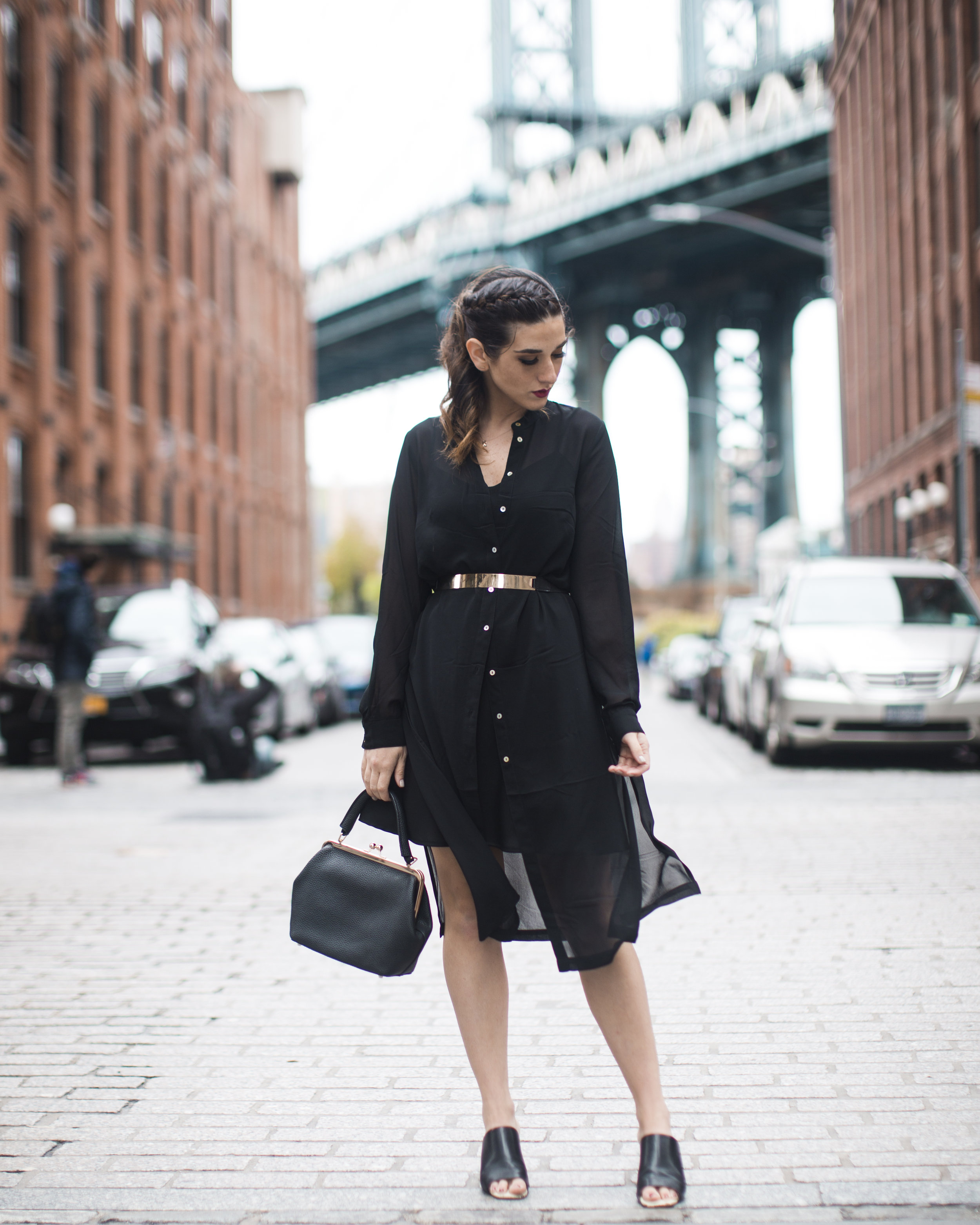 Gold Ribbon Pendant Leibish and Co. Diamonds Louboutins & Love Fashion Blog Esther Santer NYC Street Style Blogger Monochrome Mules Necklace Braid Hair Girl Women Shirt Dress All Black Outfit Trendy Jewelry Red Lipstick OOTD Inspo Wear Bag Shop Inspo.jpg