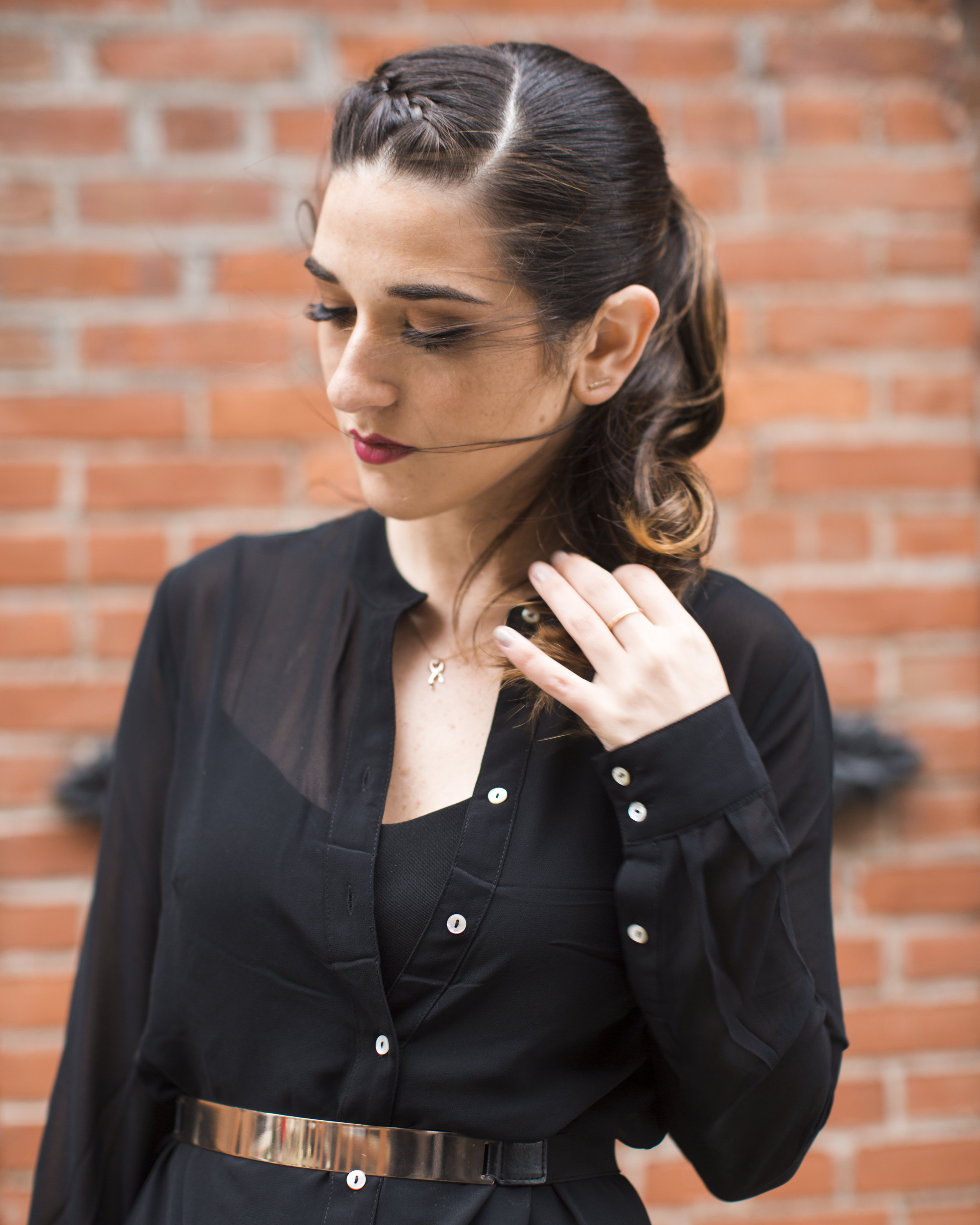 Gold Ribbon Pendant Leibish and Co. Diamonds Louboutins & Love Fashion Blog Esther Santer NYC Street Style Blogger Monochrome Mules Necklace Braid Hair Girl Women Shirt Dress All Black Outfit Trendy Jewelry Red Lipstick OOTD Wear Inspo Bag Shop Inspo.jpg
