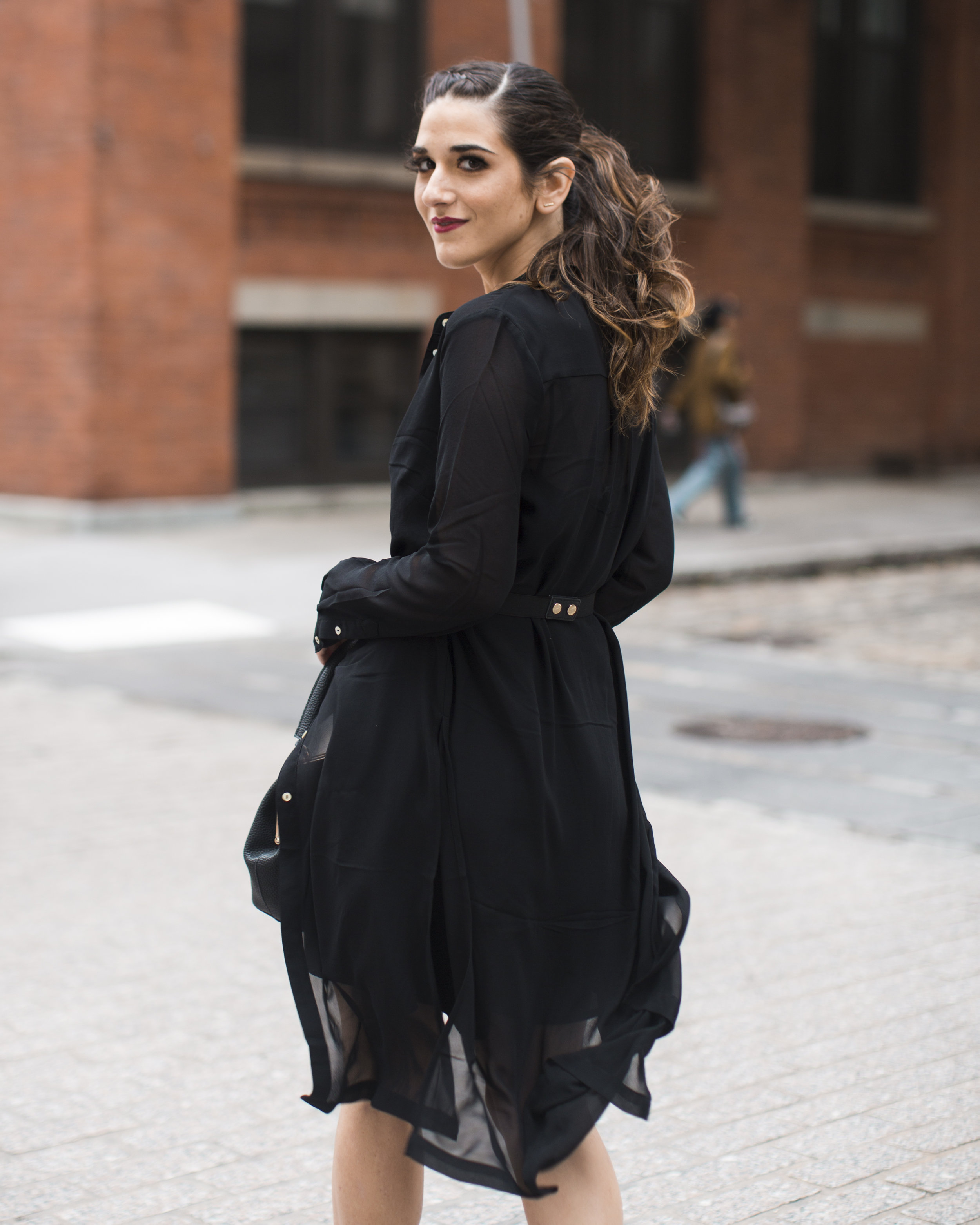 Gold Ribbon Pendant Leibish and Co. Diamonds Louboutins & Love Fashion Blog Esther Santer NYC Street Style Blogger Monochrome Mules Necklace Braid Hair Girl Women Shirt Dress All Black Red Lipstick Outfit Trendy Inspo OOTD Jewelry Bag Wear Inspo Shop.jpg
