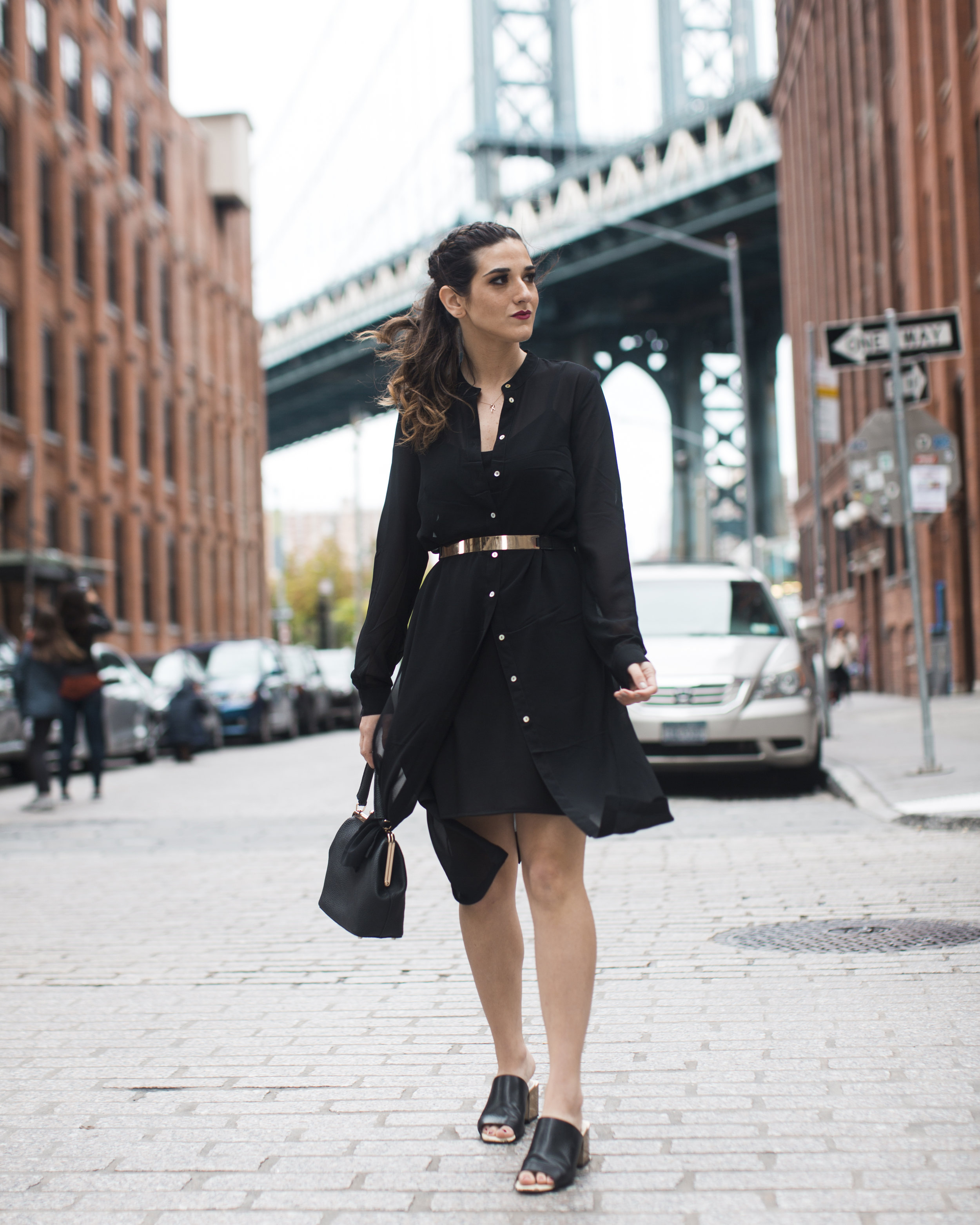 Gold Ribbon Pendant Leibish and Co. Diamonds Louboutins & Love Fashion Blog Esther Santer NYC Street Style Blogger Monochrome Mules Necklace Braid Hair Girl Women Shirt Dress All Black Red Lipstick Outfit Trendy Inspo Jewelry OOTD Wear Bag Inspo Shop.jpg