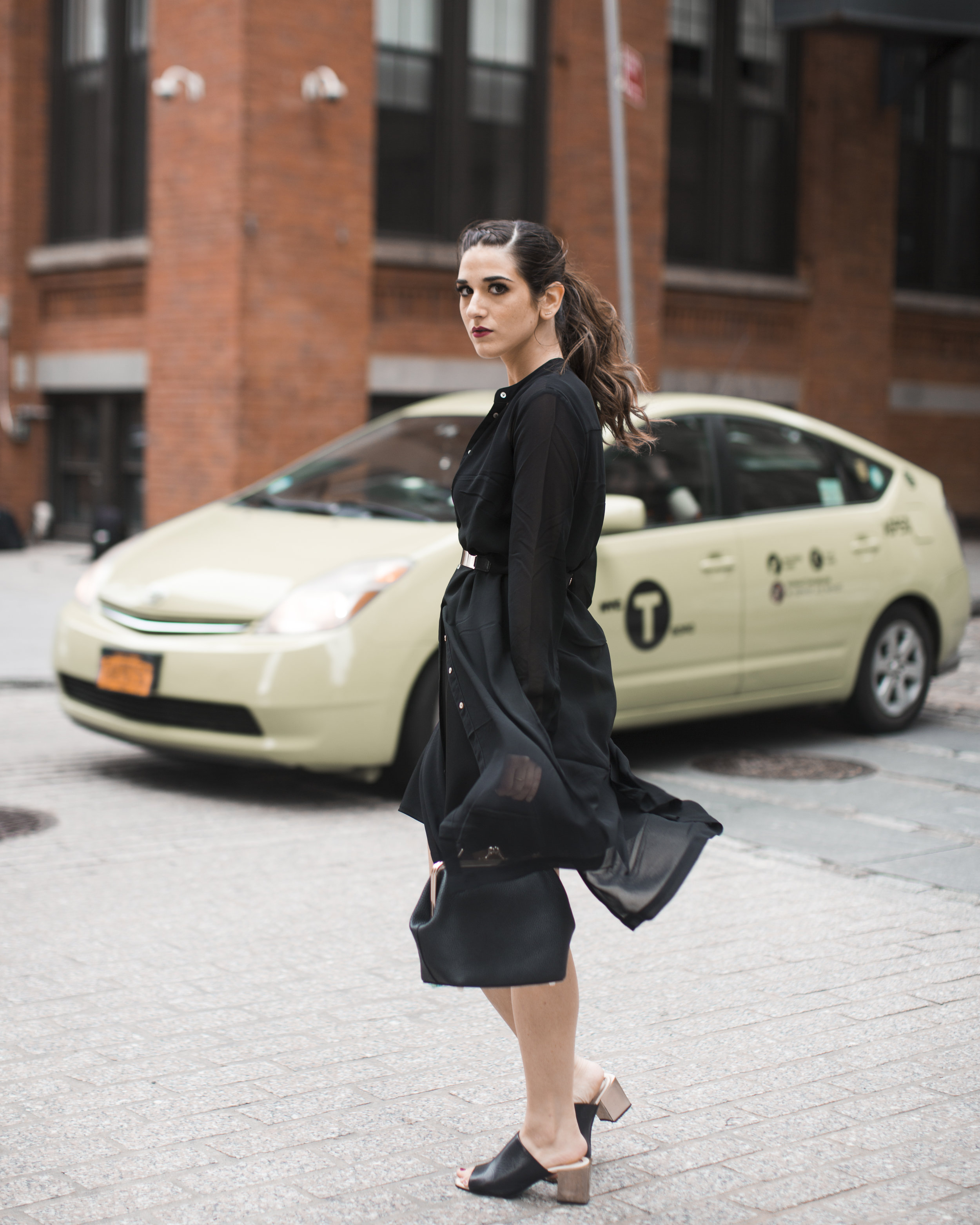 Gold Ribbon Pendant Leibish and Co. Diamonds Louboutins & Love Fashion Blog Esther Santer NYC Street Style Blogger Monochrome Mules Necklace Braid Hair Girl Women Shirt Dress All Black Red Lipstick Trendy Outfit Jewelry Inspo OOTD Bag Wear Inspo Shop.jpg