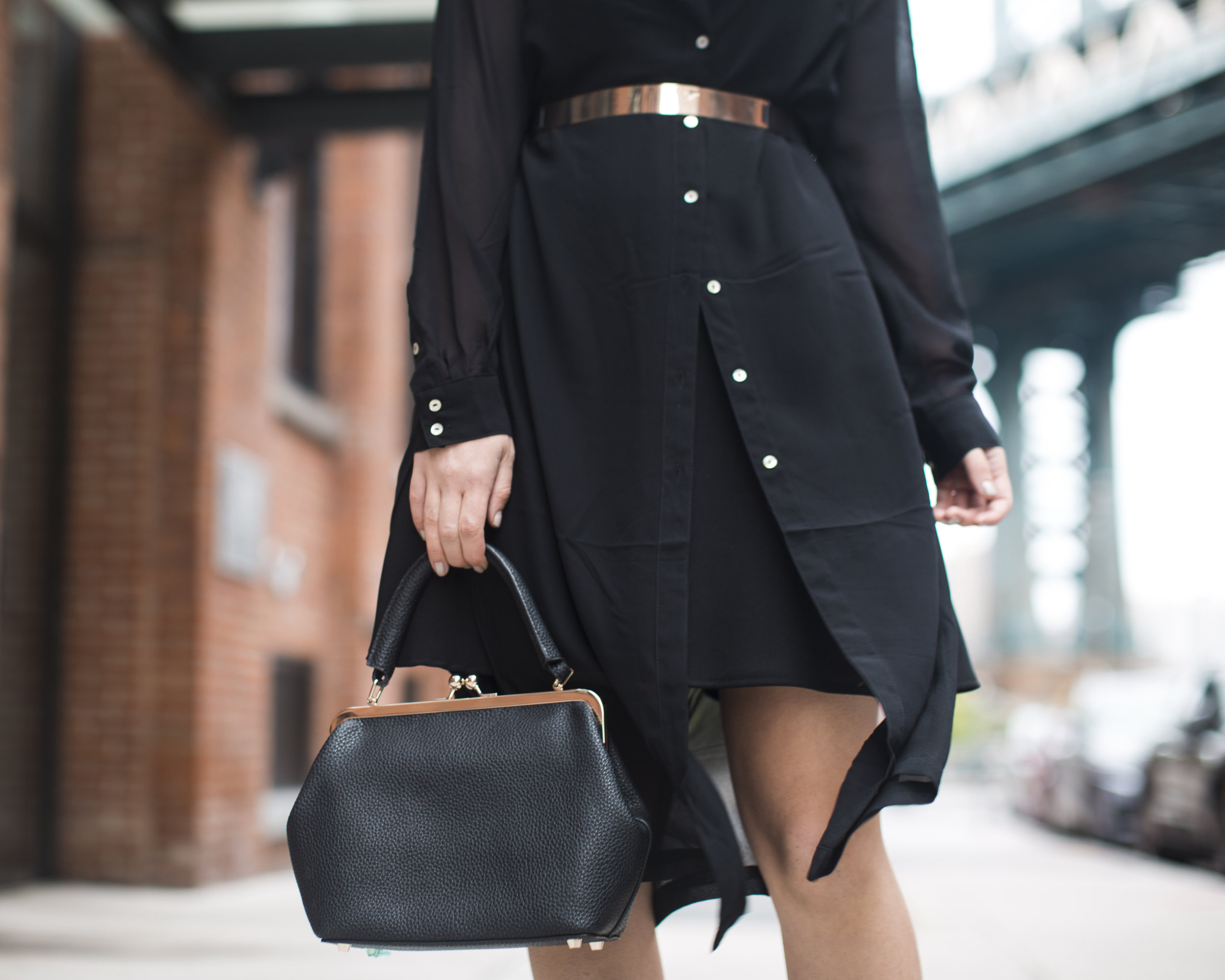 Gold Ribbon Pendant Leibish and Co. Diamonds Louboutins & Love Fashion Blog Esther Santer NYC Street Style Blogger Monochrome Mules Necklace Braid Hair Girl Women Shirt Dress All Black Red Lipstick Trendy Outfit Jewelry OOTD Inspo Wear Bag Inspo Shop.jpg