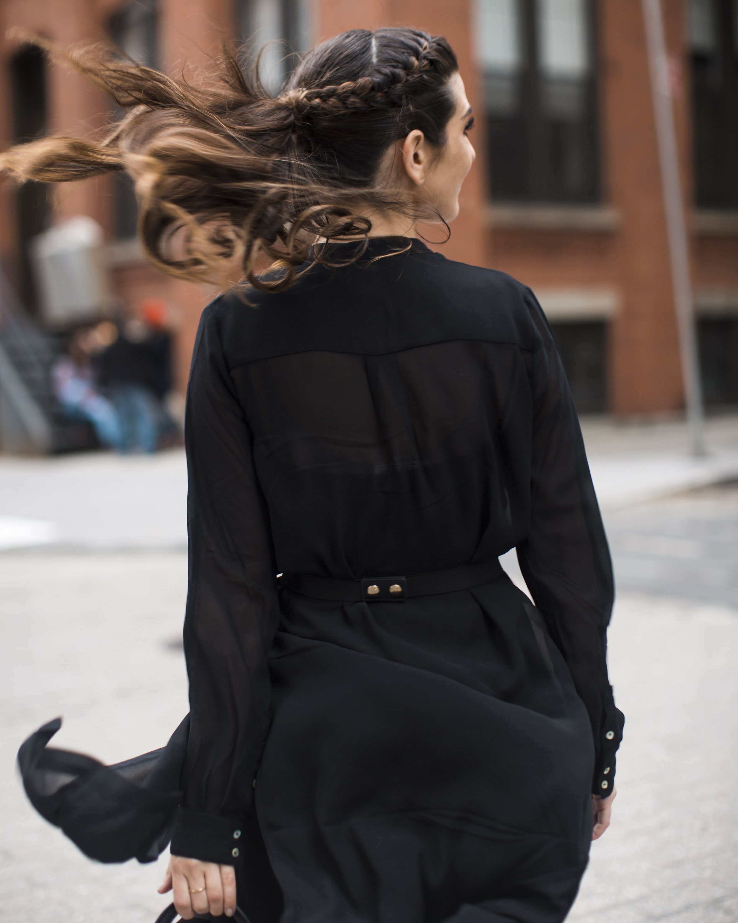 Gold Ribbon Pendant Leibish and Co. Diamonds Louboutins & Love Fashion Blog Esther Santer NYC Street Style Blogger Monochrome Mules Necklace Braid Hair Girl Women Shirt Dress All Black Red Lipstick Trendy Outfit Jewelry OOTD Inspo Wear Bag Shop Inspo.jpg