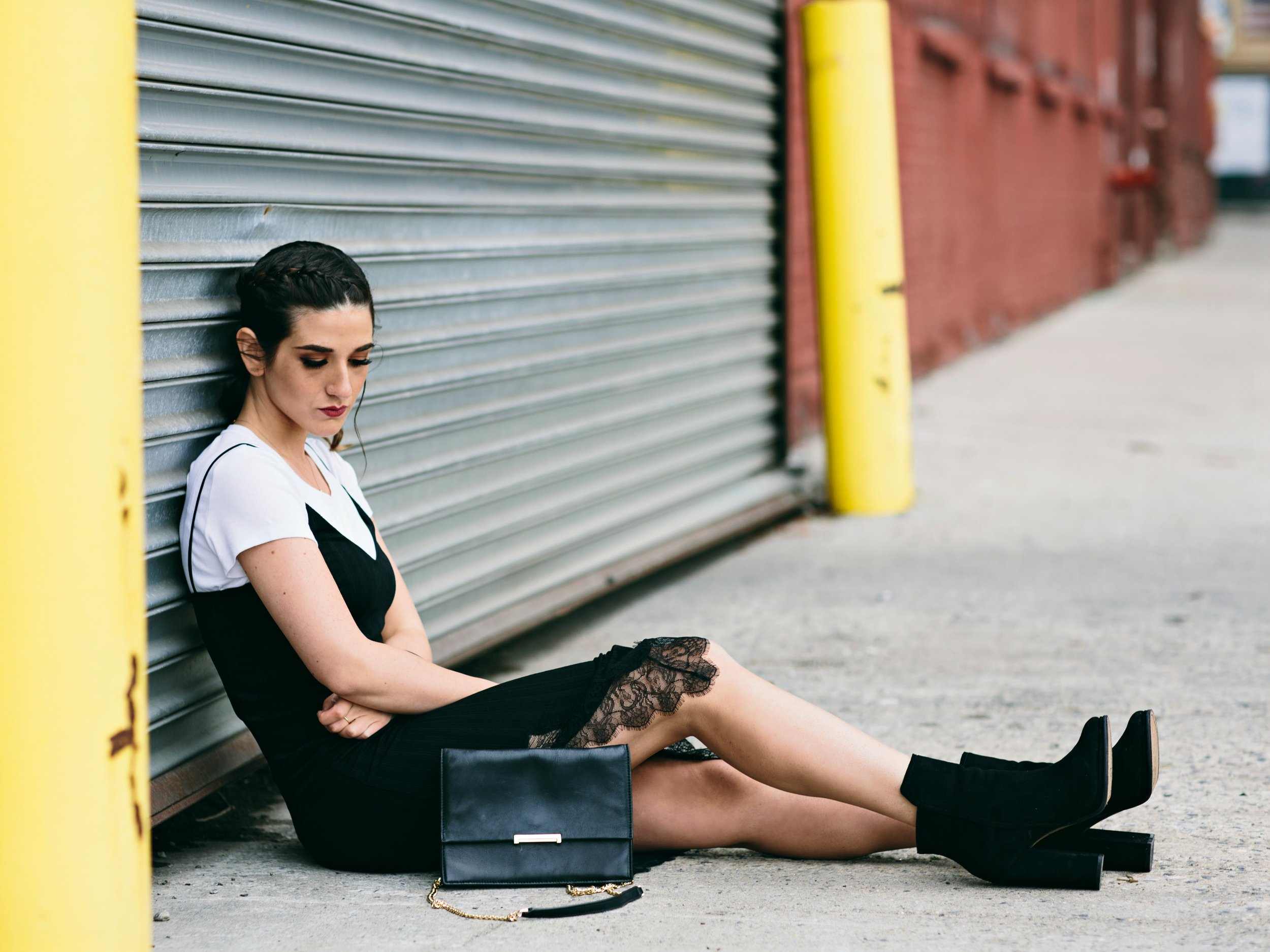 Black Lace Slip Dress Over White Tee Louboutins & Love Fashion Blog Esther Santer NYC Street Style Blogger Outfit OOTD Trendy Booties M4D3 Online Shopping Girl Women Fall Look Ivanka Trump Cocktail Bag  Wear Edgy Inspo Hair Ponytail Fashionista.jpg