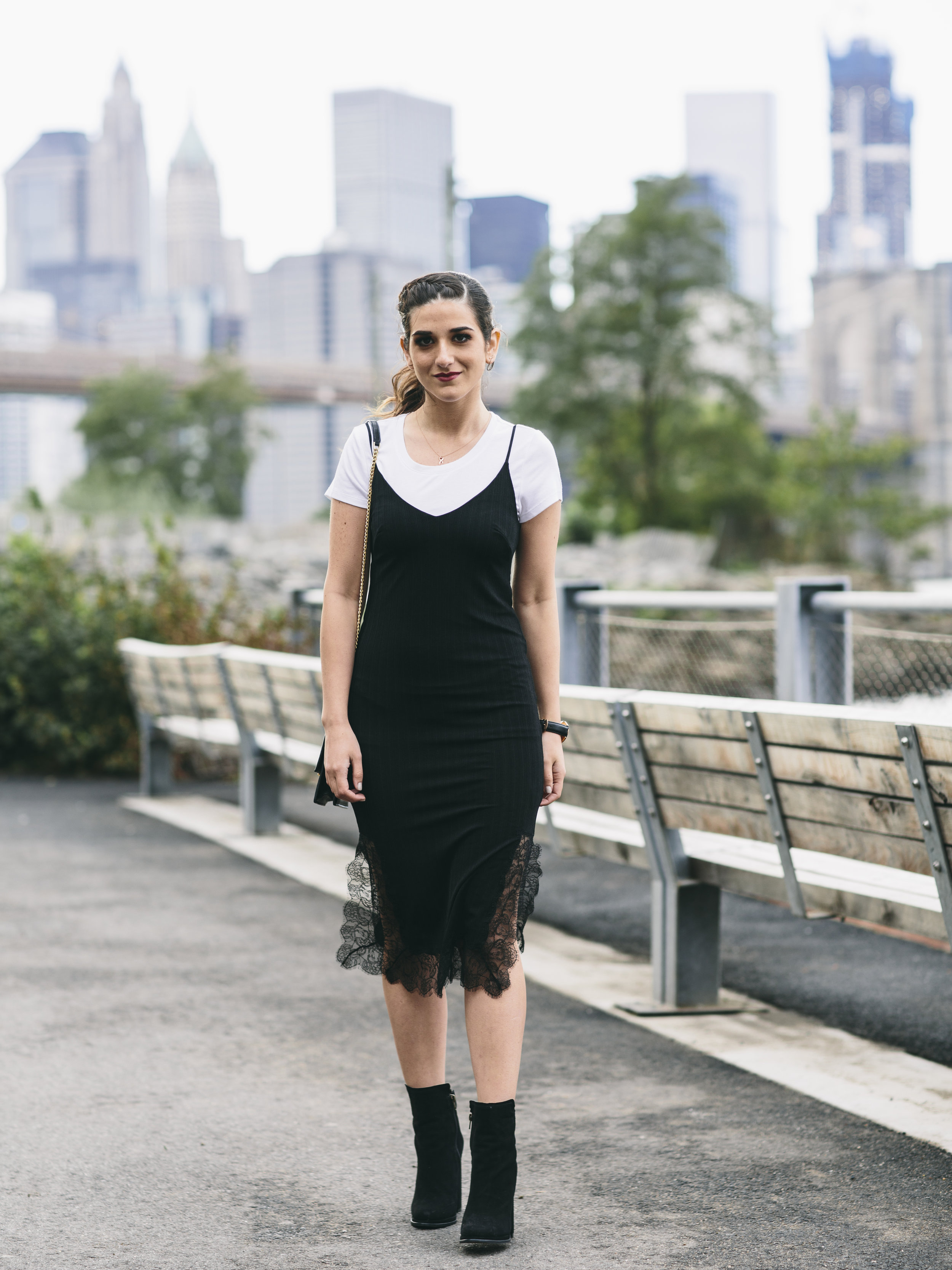 Black Lace Slip Dress Over White Tee Louboutins & Love Fashion Blog Esther Santer NYC Street Style Blogger Outfit OOTD Trendy Booties M4D3 Online Shopping Girl Women Fall Look Ivanka Trump Cocktail Bag Edgy Wear Inspo Hair Ponytail Fashionista.jpg