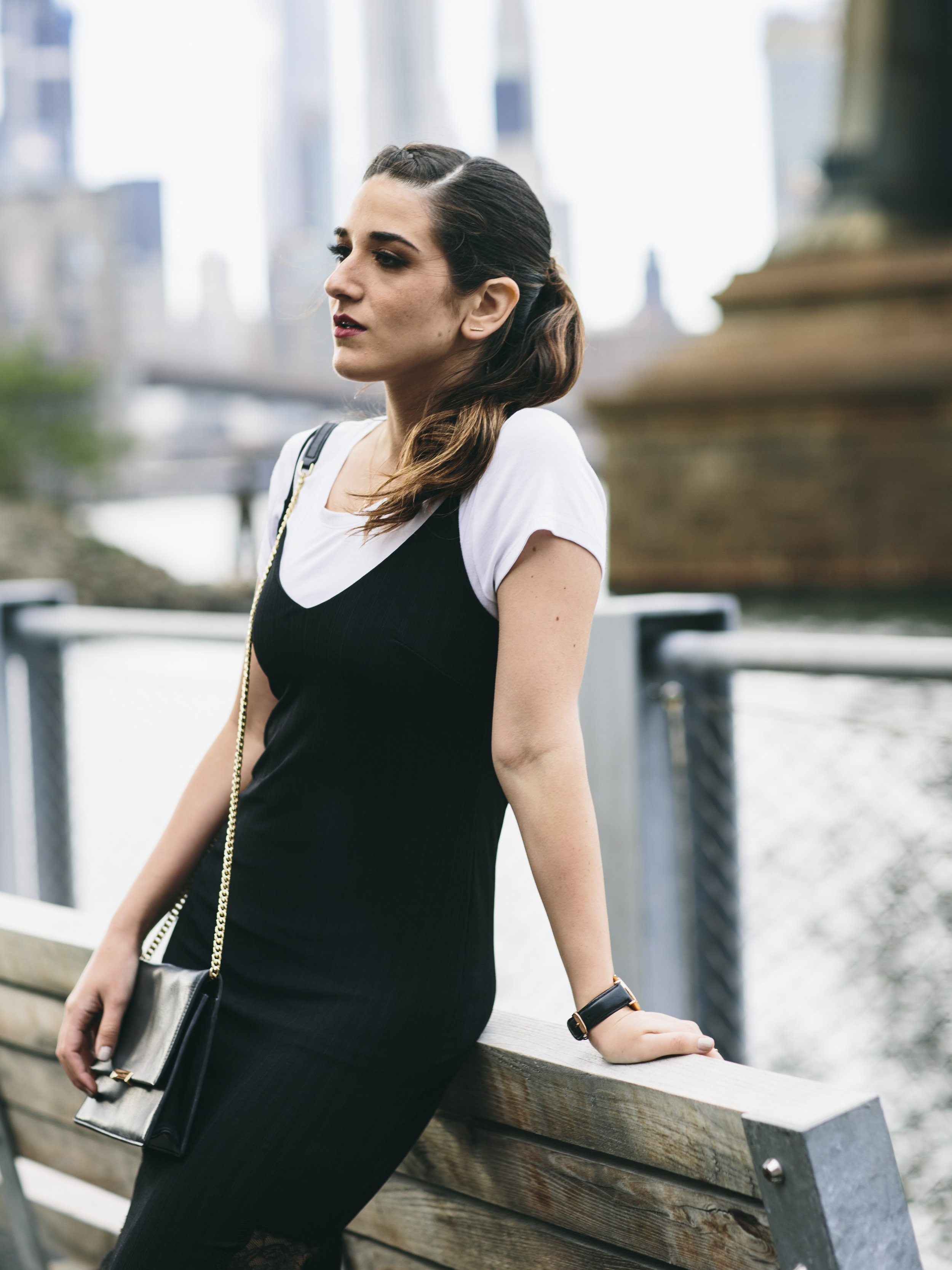 Black Lace Slip Dress Over White Tee Louboutins & Love Fashion Blog Esther Santer NYC Street Style Blogger Outfit OOTD Trendy Booties M4D3 Online Shopping Girl Women Fall Look Ivanka Trump Cocktail Bag Watch Edgy Wear Inspo Ponytail Hair Fashionista.jpg