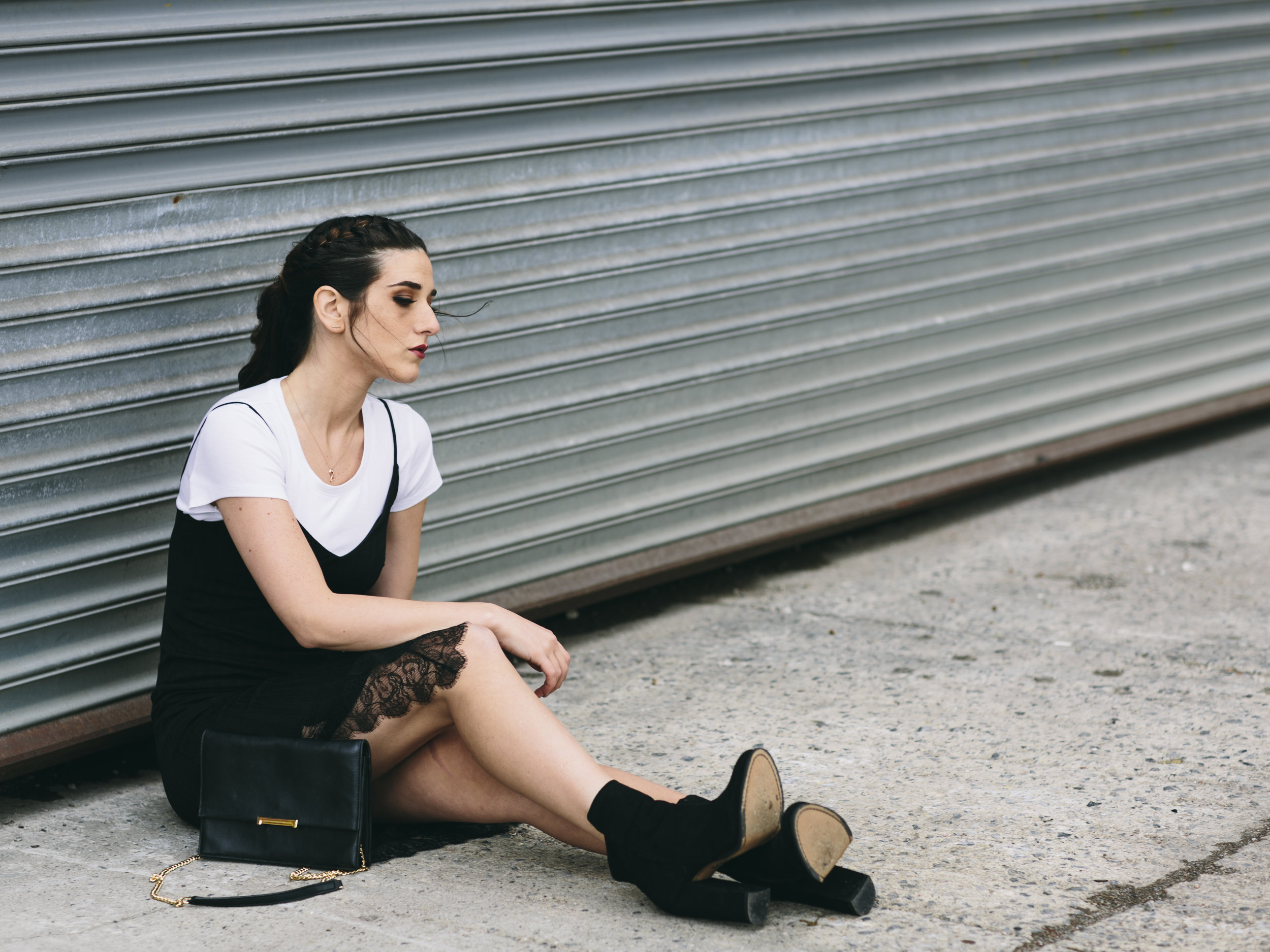Black Lace Slip Dress Over White Tee Louboutins & Love Fashion Blog Esther Santer NYC Street Style Blogger Outfit OOTD Trendy Booties M4D3 Online Shopping Girl Women Fall Look Ivanka Trump Cocktail Bag Watch Edgy Wear Ponytail Hair Inspo Fashionista.jpg