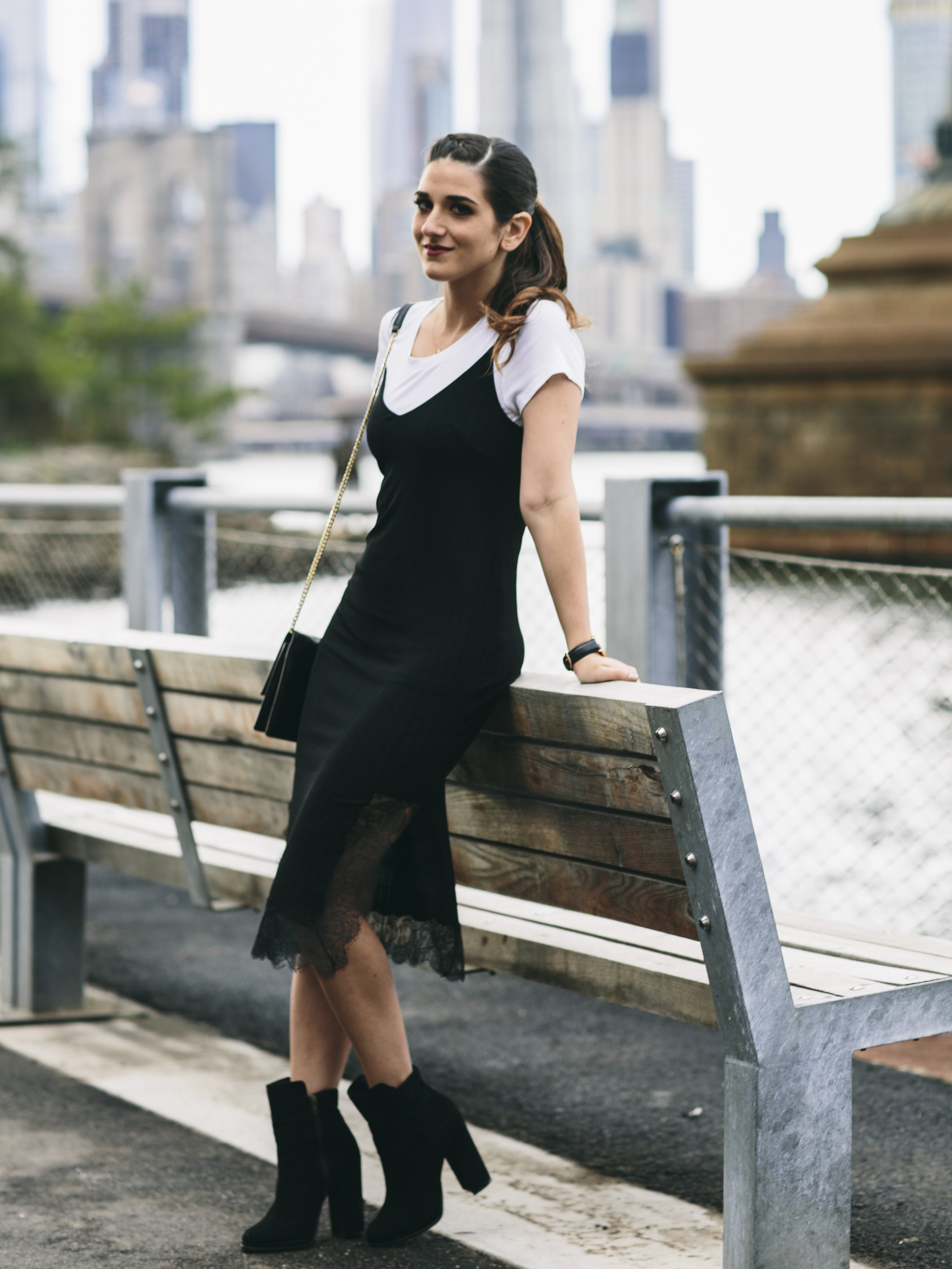Black Lace Slip Dress Over White Tee Louboutins & Love Fashion Blog Esther Santer NYC Street Style Blogger Outfit OOTD Trendy Booties M4D3 Online Shopping Girl Women Fall Look Ivanka Trump Cocktail Bag Watch Wear Hair Inspo Ponytail Edgy Fashionista.jpg