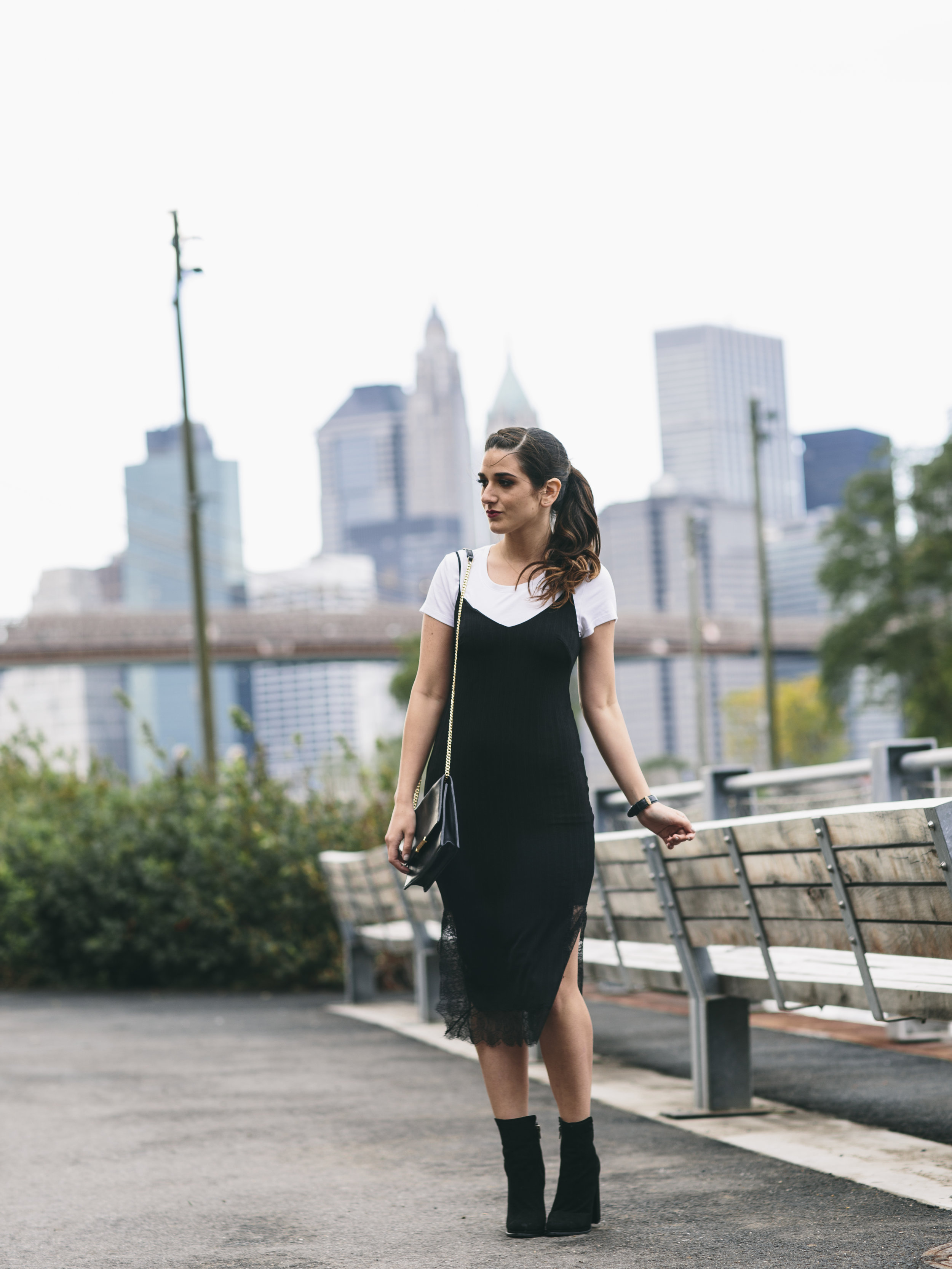 Black Lace Slip Dress Over White Tee Louboutins & Love Fashion Blog Esther Santer NYC Street Style Blogger Outfit OOTD Trendy Booties M4D3 Online Shopping Girl Women Fall Look Ivanka Trump Cocktail Bag Watch Wear Hair Ponytail Inspo Edgy Fashionista.jpg