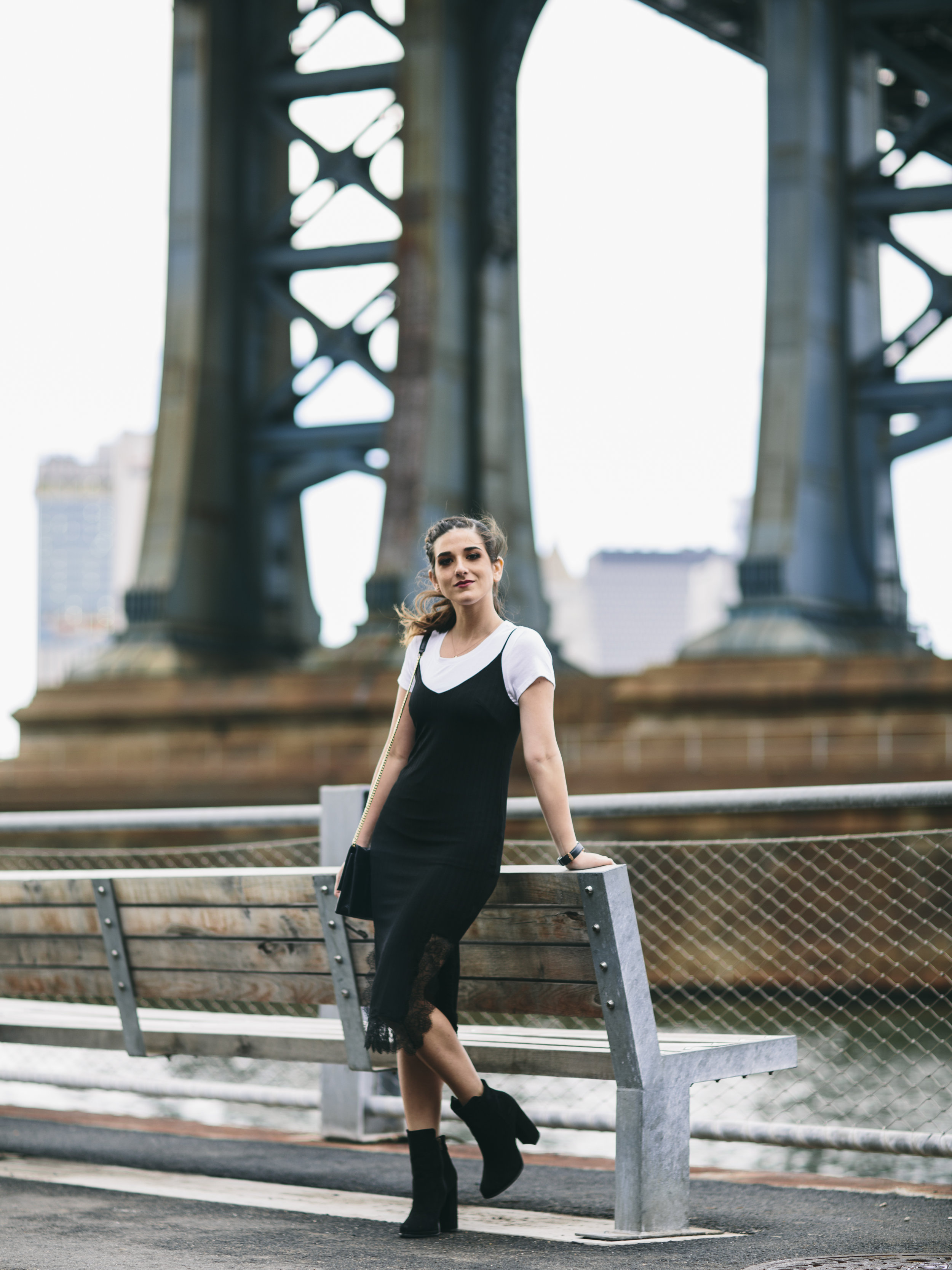 Black Lace Slip Dress Over White Tee Louboutins & Love Fashion Blog Esther Santer NYC Street Style Blogger Outfit OOTD Trendy Booties M4D3 Online Shopping Girl Women Fall Look Ivanka Trump Cocktail Bag Watch Wear Ponytail Hair Inspo Edgy Fashionista.jpg