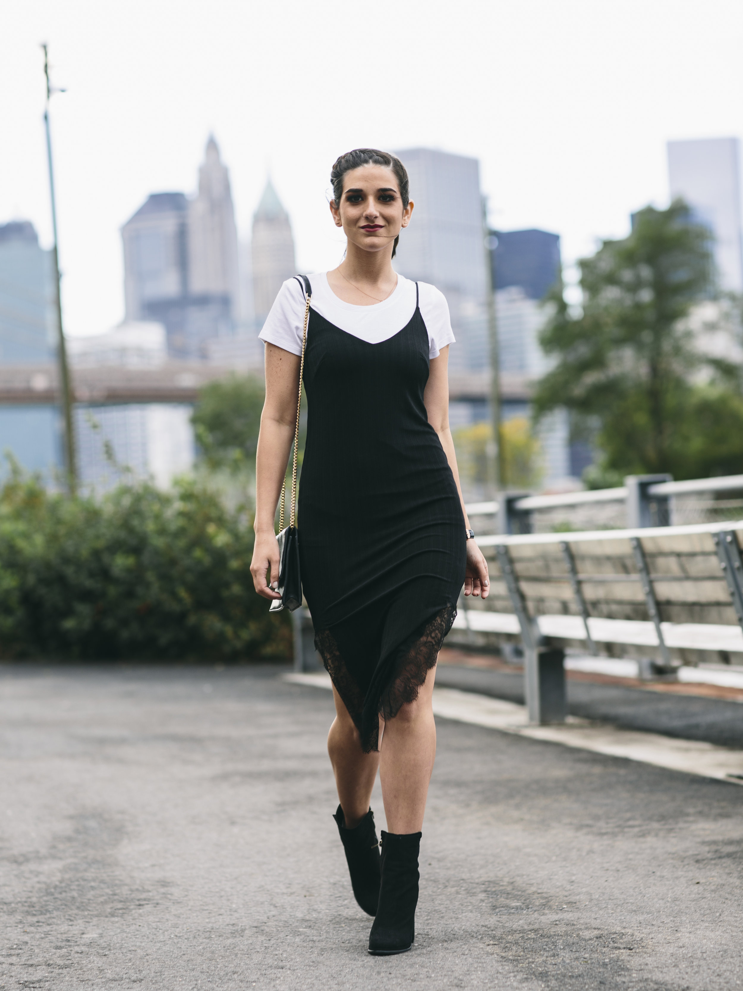 Black Lace Slip Dress Over White Tee Louboutins & Love Fashion Blog Esther Santer NYC Street Style Blogger Outfit OOTD Trendy Booties M4D3 Online Shopping Girl Women Fall Look Ivanka Trump Wear Cocktail Bag Watch Ponytail Hair Inspo Edgy Fashionista.jpg
