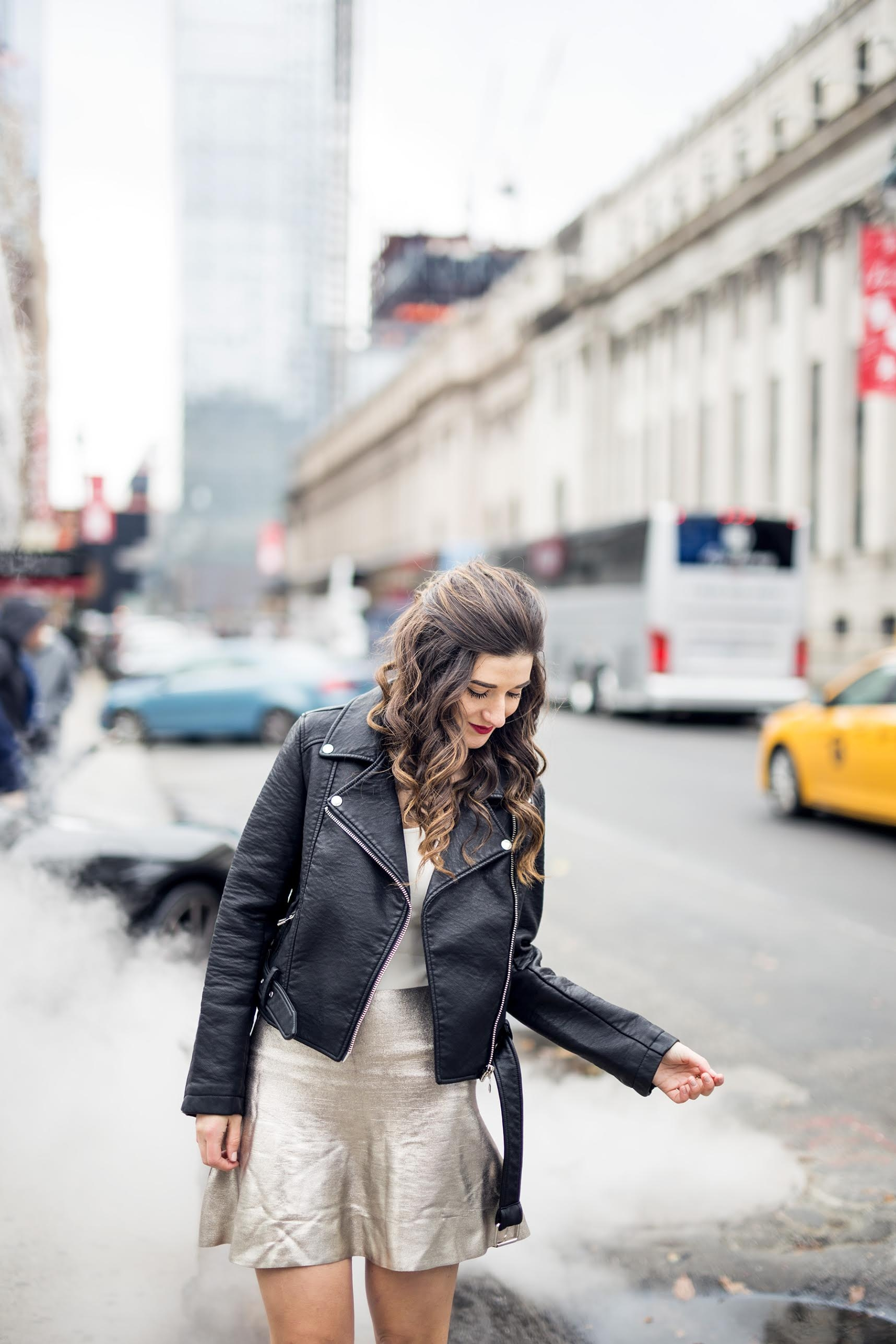 Feminine Edgy Look For The Holidays Payless Louboutins & Love Fashion Blog Esther Santer NYC Street Style Blogger Outfit OOTD Trendy Metallic Skirt Black Moto Leather Jacket Girly Lace-Up Heels Hair Women Shoes Shopping Party Pretty Photoshoot Model.jpg