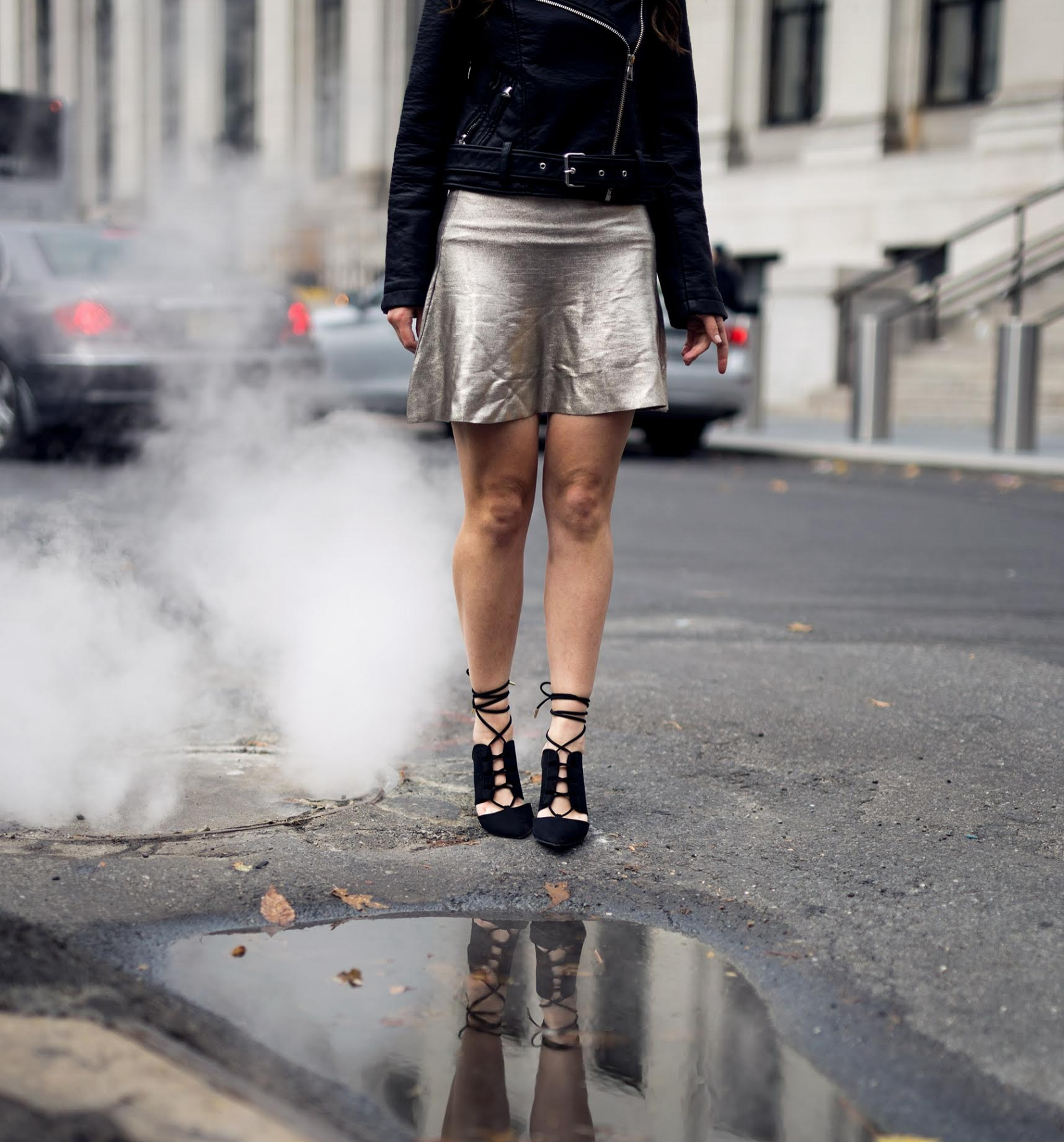 Feminine Edgy Look For The Holidays Payless Louboutins & Love Fashion Blog Esther Santer NYC Street Style Blogger Outfit OOTD Trendy Metallic Skirt Black Moto Leather Jacket Girly Lace-Up Heels Hair Shopping Women Pretty Shoes Party Photoshoot Model.jpg