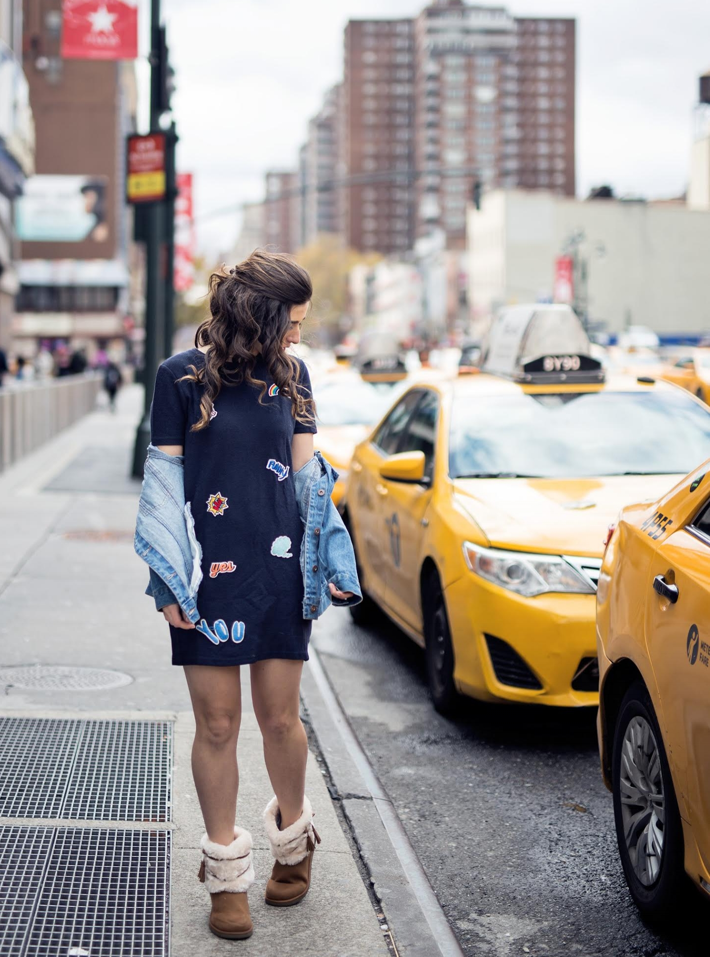 Patch Dress Cozy Payless Boots Louboutins & Love Fashion Blog Esther Santer NYC Street Style Blogger Outfit OOTD Trendy Hair Model Girl Women Online Shopping City Lifestyle Navy Jean Denim Jacket Zara Beauty  Winter Faux Fur Budget Friendly Affordable.jpg