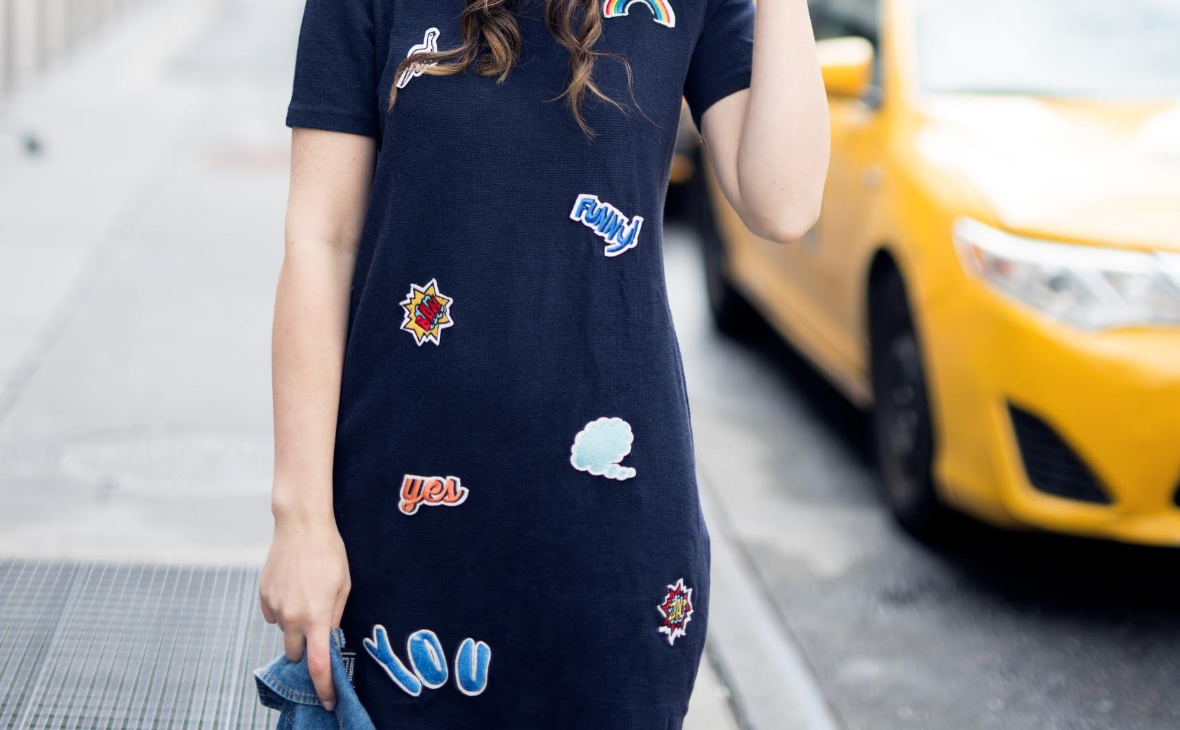 Patch Dress Cozy Payless Boots Louboutins & Love Fashion Blog Esther Santer NYC Street Style Blogger Outfit OOTD Trendy Hair Model Girl Women Online Shopping City Lifestyle Navy Jean Denim Jacket Zara Forever 21 Fur Affordable Budget Friendly Winter.jpg