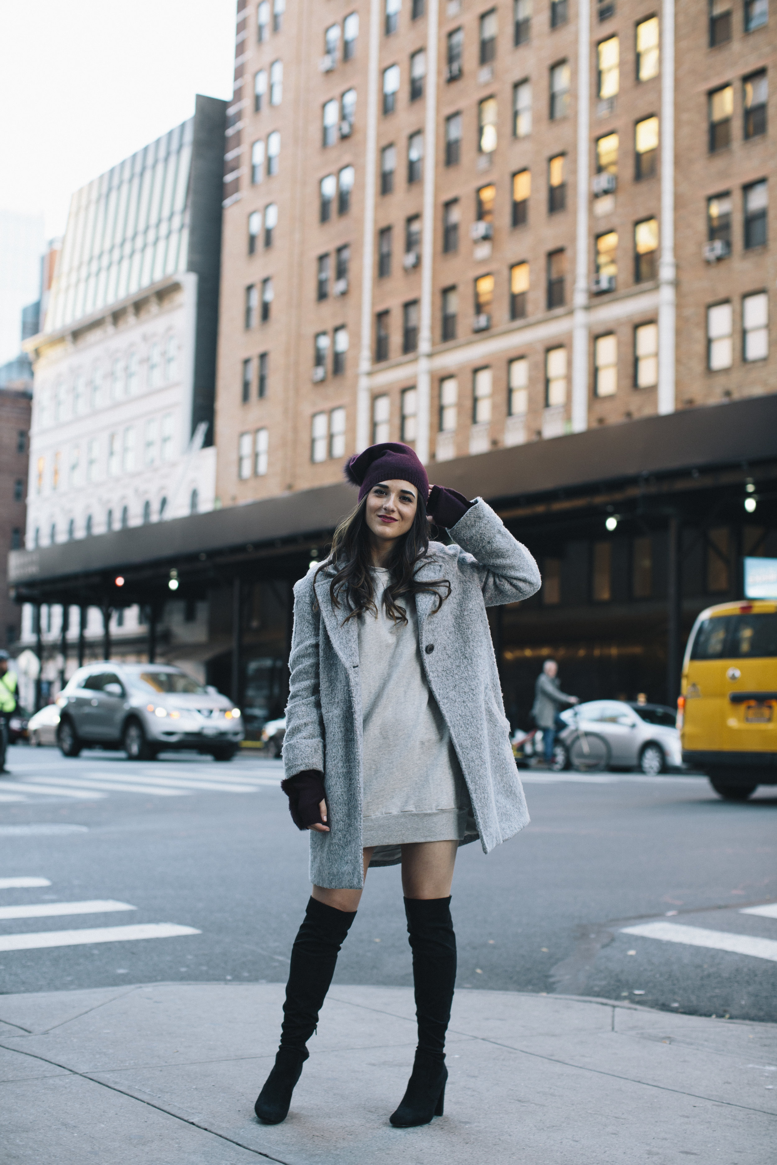 Cashmere Hat And Glove Set Piccolo New York Louboutins & Love Fashion Blog Esther Santer NYC Street Style Blogger Outfit OOTD Trendy Winter Wear Cold Weather Online Shopping Holiday Season Grey Coat Zara Sweatshirt Dress Girls OTK Black Boots Buy Cozy.jpg