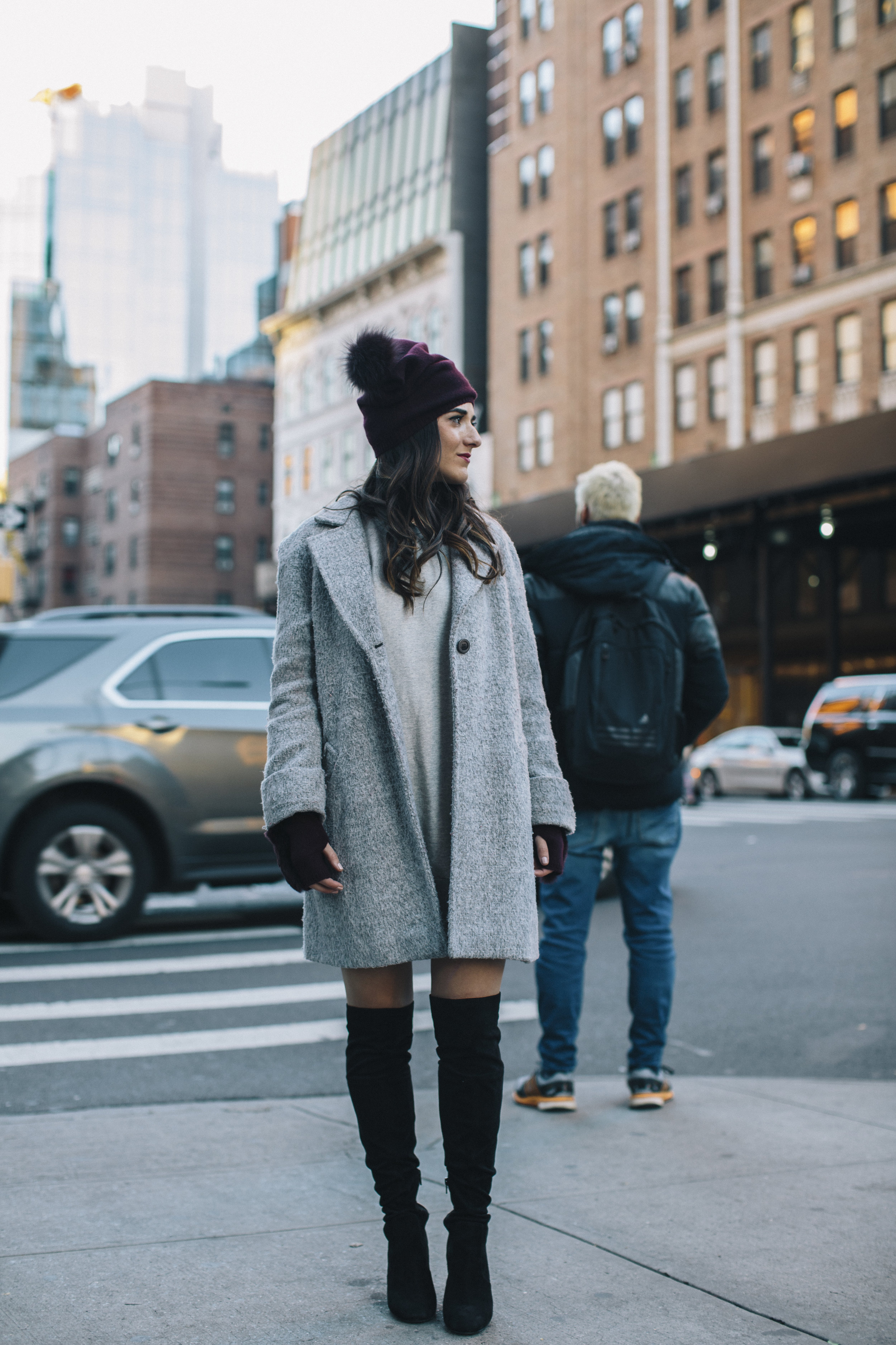Cashmere Hat And Glove Set Piccolo New York Louboutins & Love Fashion Blog Esther Santer NYC Street Style Blogger Outfit OOTD Trendy Winter Wear Cold Weather Online Shopping Holiday Season Grey Coat Zara Sweatshirt Dress OTK Black Boots Stylish Cozy.jpg