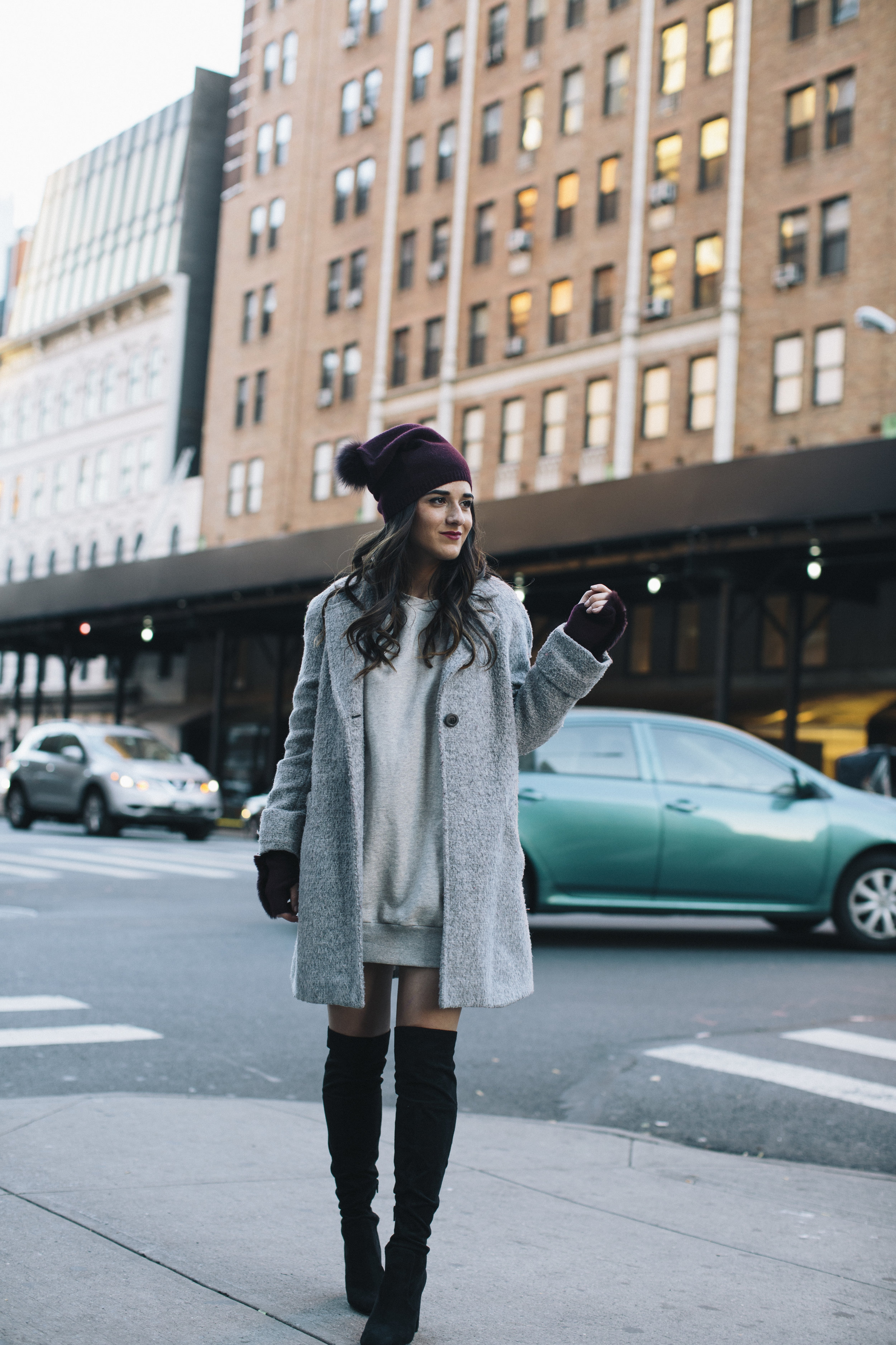 Cashmere Hat And Glove Set Piccolo New York Louboutins & Love Fashion Blog Esther Santer NYC Street Style Blogger Outfit OOTD Trendy Winter Wear Cold Weather Online Shopping Holiday Season Grey Coat Zara Sweatshirt Dress OTK Black Boots Women Buy Cozy.jpg