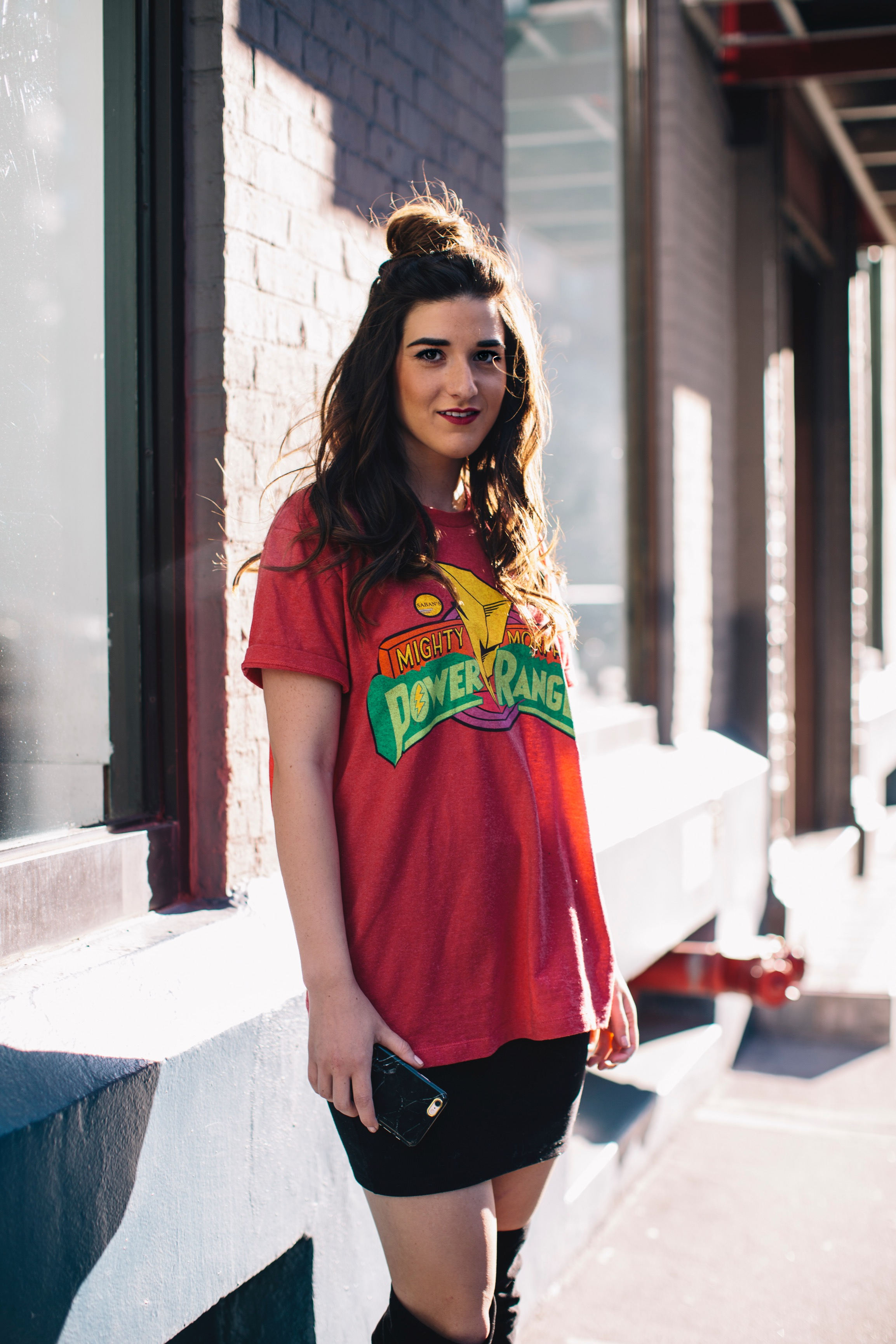 Power Rangers Tee + OTN Boots Hashtag Blogger Problems Louboutins & Love Fashion Blog Esther Santer NYC Street Style Blogger Outfit OOTD Trendy Red Top Black Mini Skirt Girl Women What To Wear Shopping Phone Hair Topknot Bun Fun Graphic T-Shirt Edgy.jpg