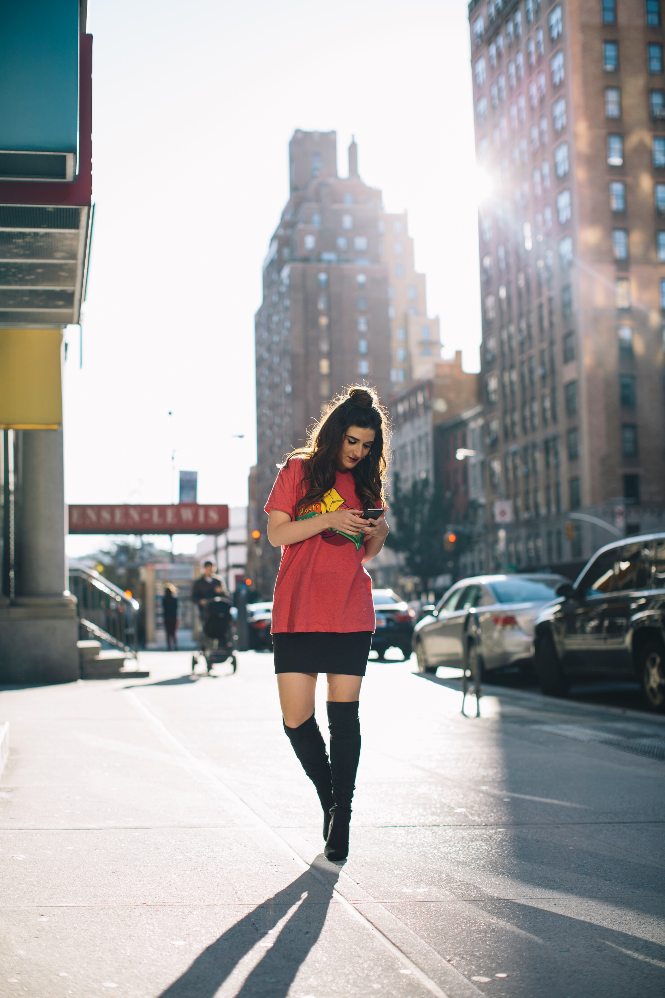 Power Rangers Tee + OTN Boots Hashtag Blogger Problems Louboutins & Love Fashion Blog Esther Santer NYC Street Style Blogger Outfit OOTD Trendy Red Top Black Mini Skirt Women Girl What To Wear Shopping Phone Hair Bun Topknot  Fun Edgy Graphic T-Shirt.jpg