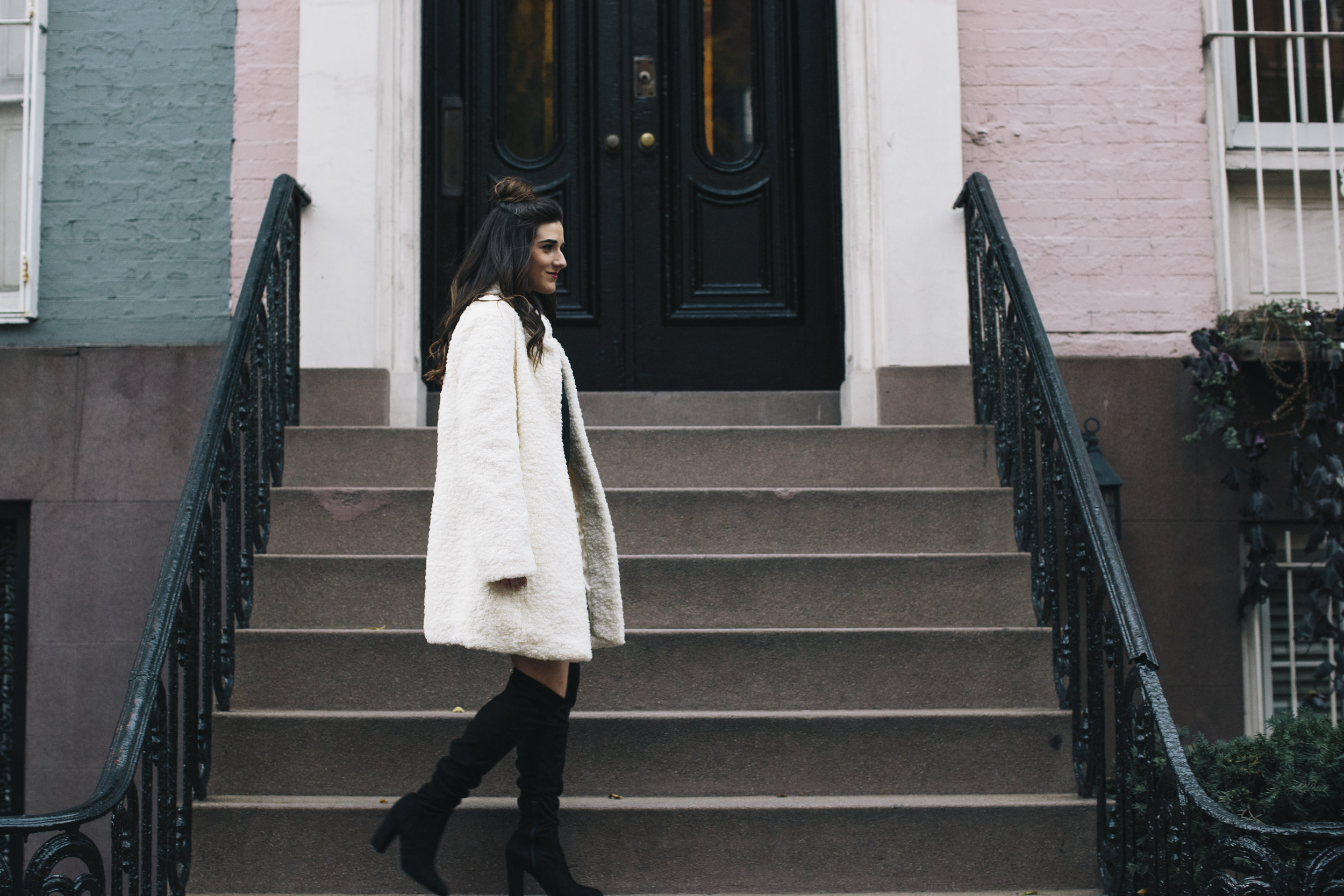 Teddy Bear Coat + OTN Boots How To Avoid Blogger Depression Louboutins & Love Fashion Blog Esther Santer NYC Street Style Blogger Outfit OOTD Trendy Ivanka Trump Nordstrom Bloomingdales Black Dress Zara Pretty Online Shopping Shoes Wear Bun Girl Women.jpg