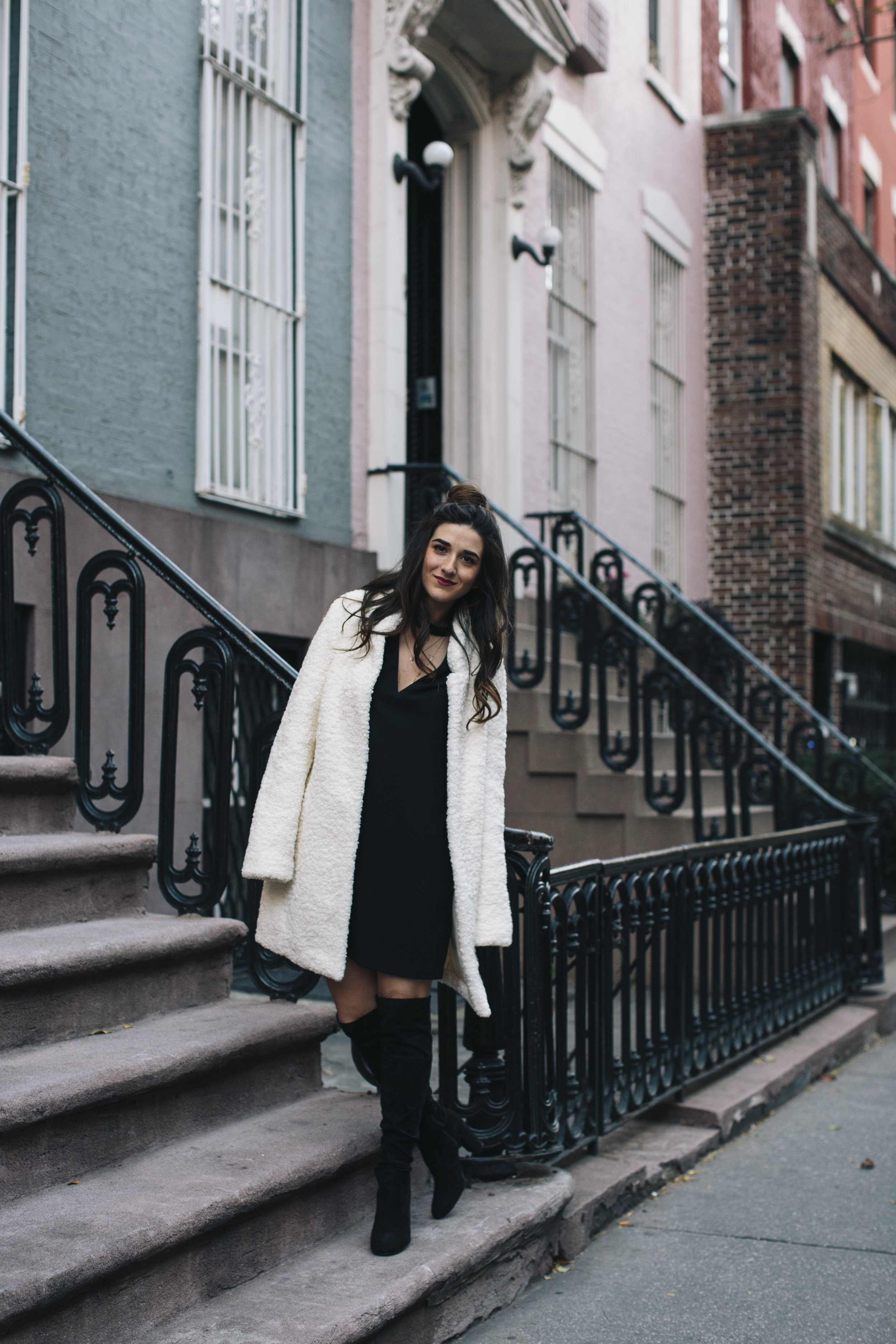 Teddy Bear Coat + OTN Boots How To Avoid Blogger Depression Louboutins & Love Fashion Blog Esther Santer NYC Street Style Blogger Outfit OOTD Trendy Ivanka Trump Nordstrom Bloomingdales Online Shopping Black Dress Zara Shoes Bun Pretty Wear Girl Women.jpg
