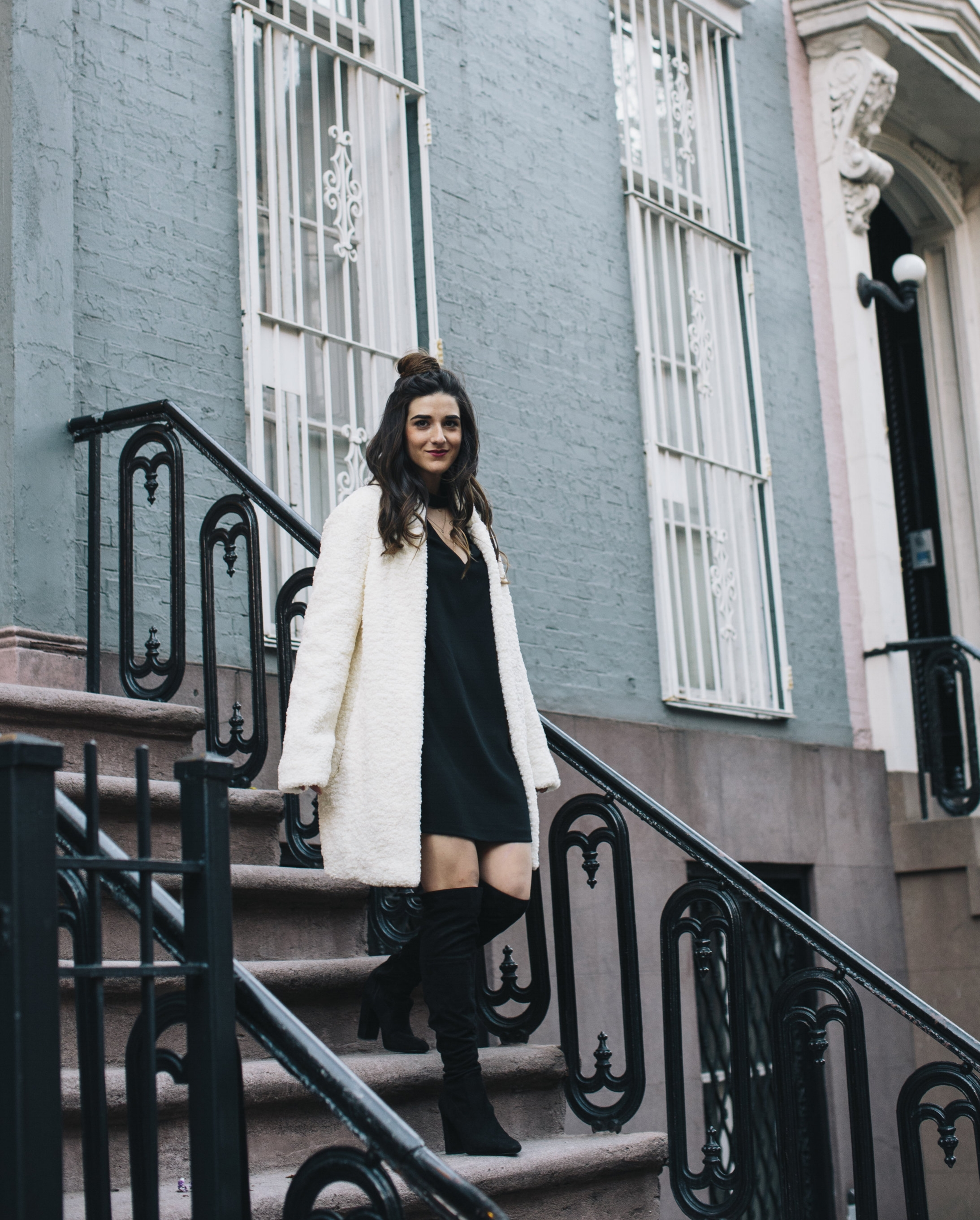 Teddy Bear Coat + OTN Boots How To Avoid Blogger Depression Louboutins & Love Fashion Blog Esther Santer NYC Street Style Blogger Outfit OOTD Trendy Ivanka Trump Nordstrom Bloomingdales Online Shopping Black Dress Zara Pretty Shoes Bun Wear Girl Women.jpg