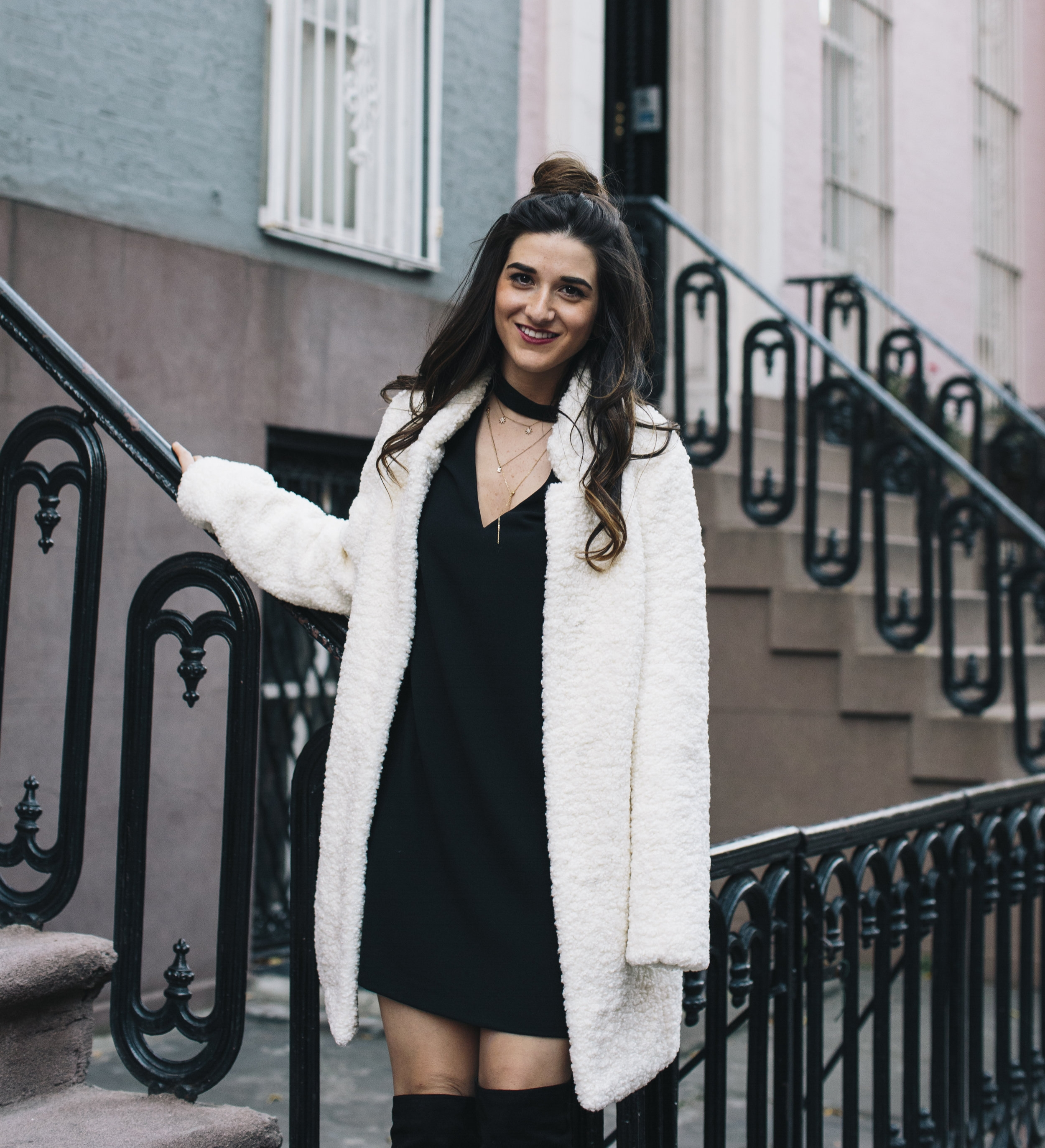 Teddy Bear Coat + OTN Boots How To Avoid Blogger Depression Louboutins & Love Fashion Blog Esther Santer NYC Street Style Blogger Outfit OOTD Trendy Ivanka Trump Nordstrom Bloomingdales Black Dress Zara Pretty Online Shopping Wear Shoes Bun Women Girl.jpg