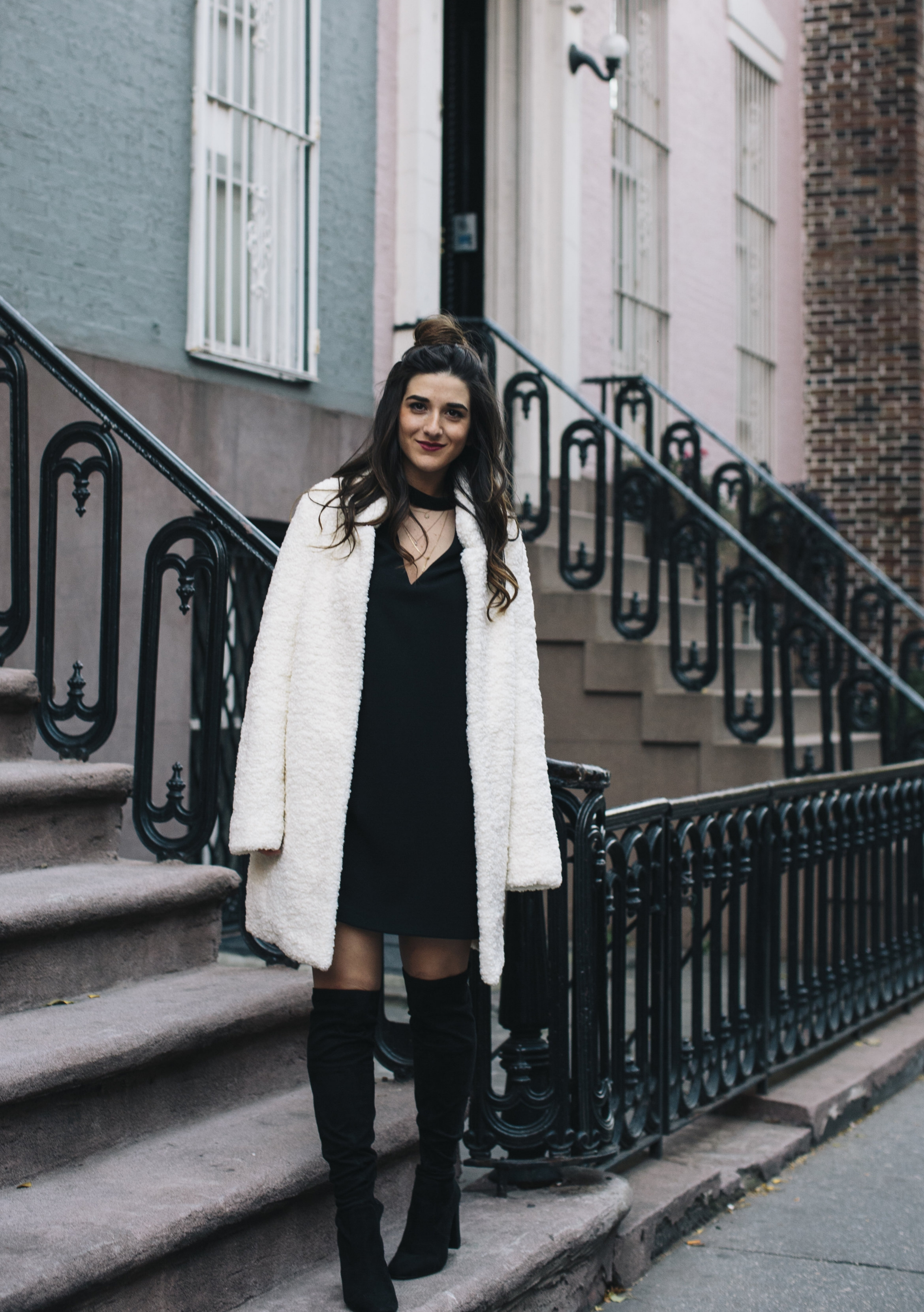 Teddy Bear Coat + OTN Boots How To Avoid Blogger Depression Louboutins & Love Fashion Blog Esther Santer NYC Street Style Blogger Outfit OOTD Trendy Ivanka Trump Nordstrom Bloomingdales Black Dress Zara Pretty Online Shopping Shoes Wear Bun Women Girl.jpg