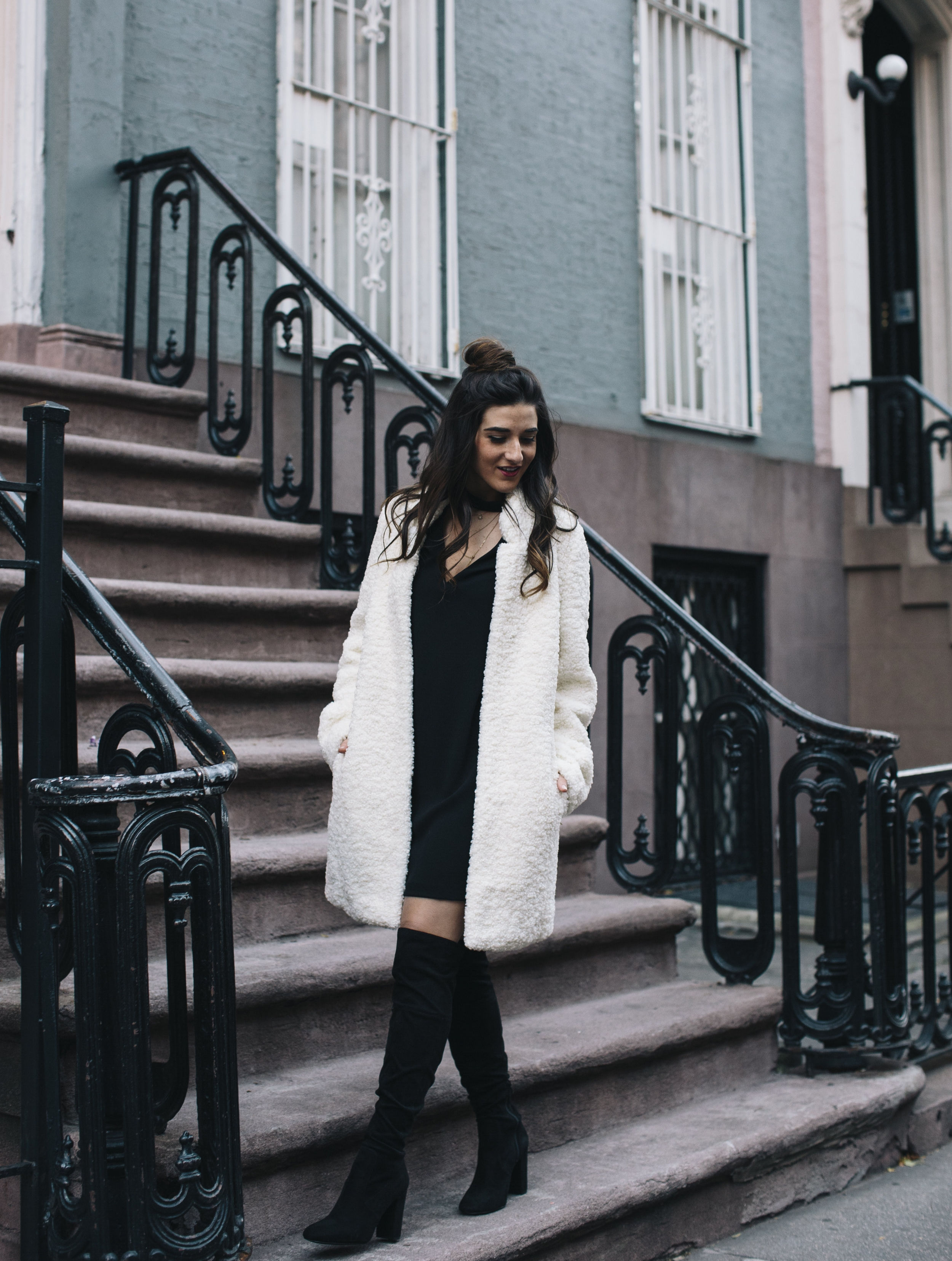 Teddy Bear Coat + OTN Boots How To Avoid Blogger Depression Louboutins & Love Fashion Blog Esther Santer NYC Street Style Blogger Outfit OOTD Trendy Ivanka Trump Nordstrom Bloomingdales Black Dress Zara Pretty Online Shopping Shoes Bun Wear Women Girl.jpg