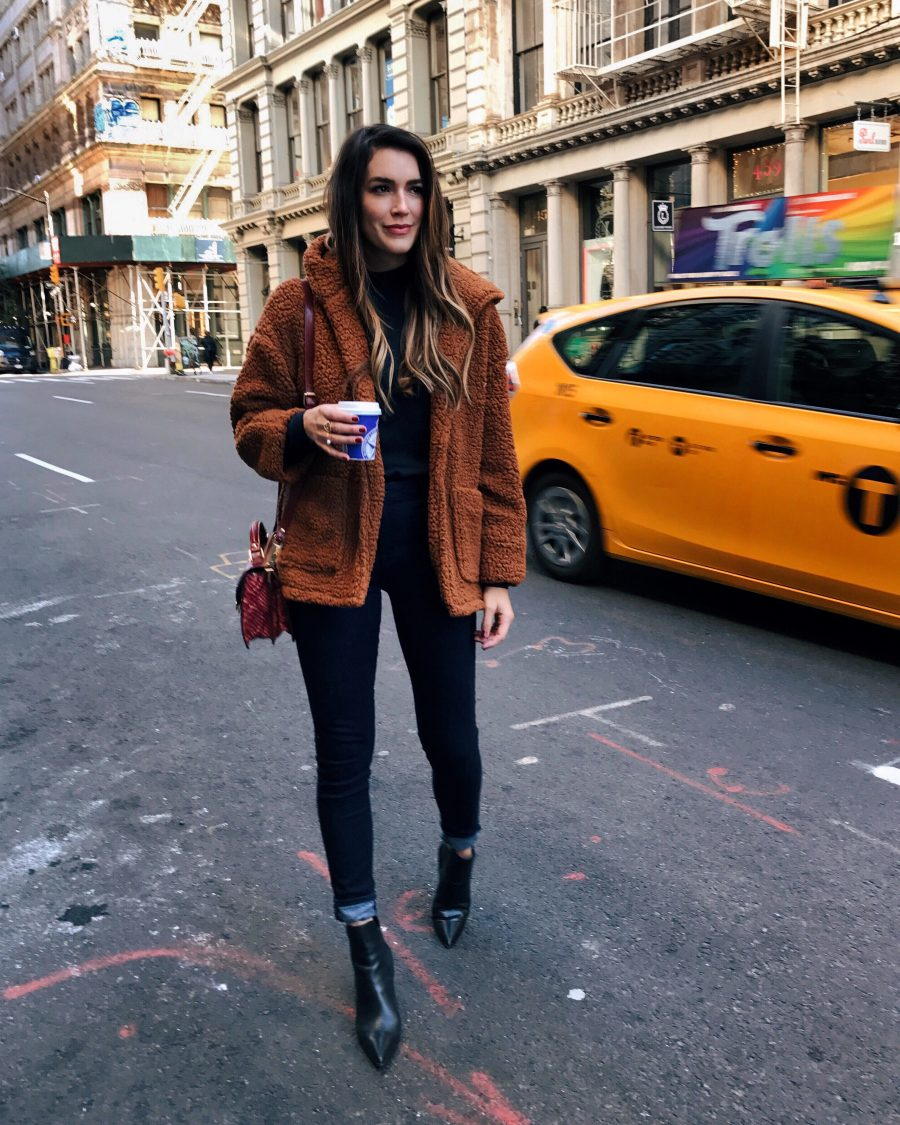 Chic Looks Of 2016 Louboutins & Love Fashion Blog Esther Santer Street Style Chic Cute Trendy Choker Sparkly Dress Rhinestones Kitten Heels Duster Coats Kendall Jenner Teddy Coat Jeans Brown Jacket Fleece.jpeg