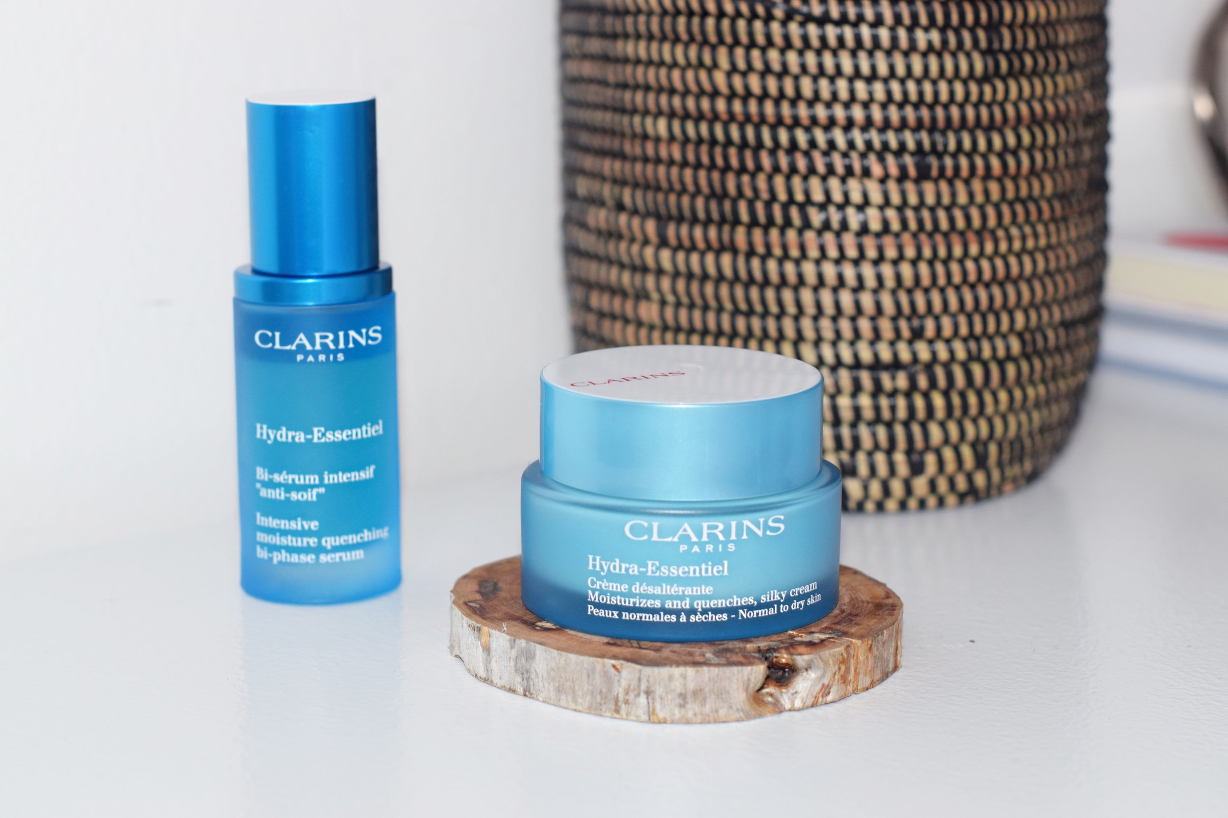 Clarins Hydra-Essentiel Bi-phase serum and moisturizer Louboutins & Love Esther Santer NYC Street Style Blogger Beauty Product Review Skin Routine Blue Packaging Shop Buy Lotion Girl Women Sephora Macys Lord & Taylor Skincare.JPG