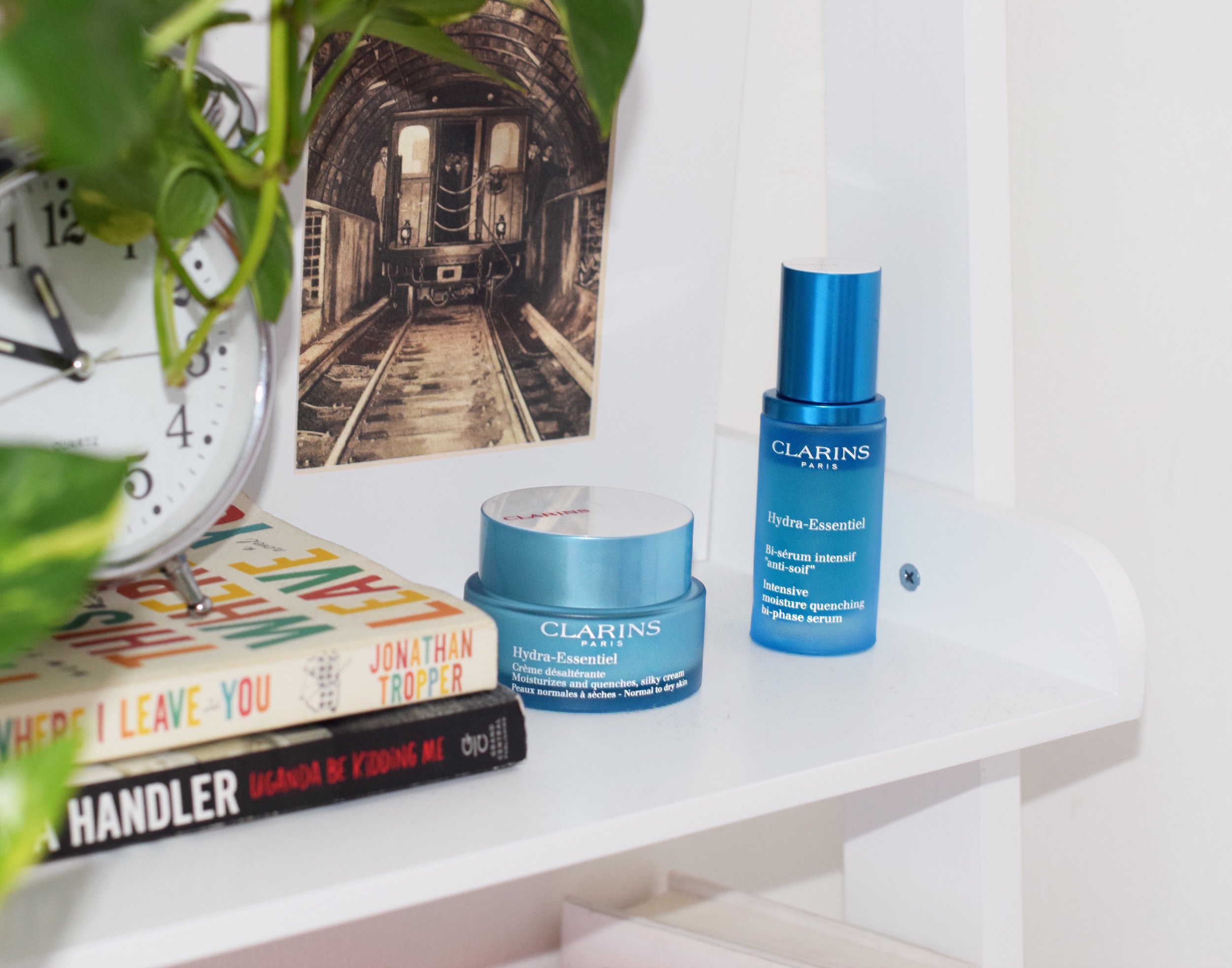 Clarins Hydra-Essentiel Bi-phase serum and moisturizer Louboutins & Love Esther Santer NYC Street Style Blogger Beauty Product Review Skin Routine Blue Packaging Shop Buy Lotion Girl Women  Skincare Sephora Macys Lord & Taylor.JPG