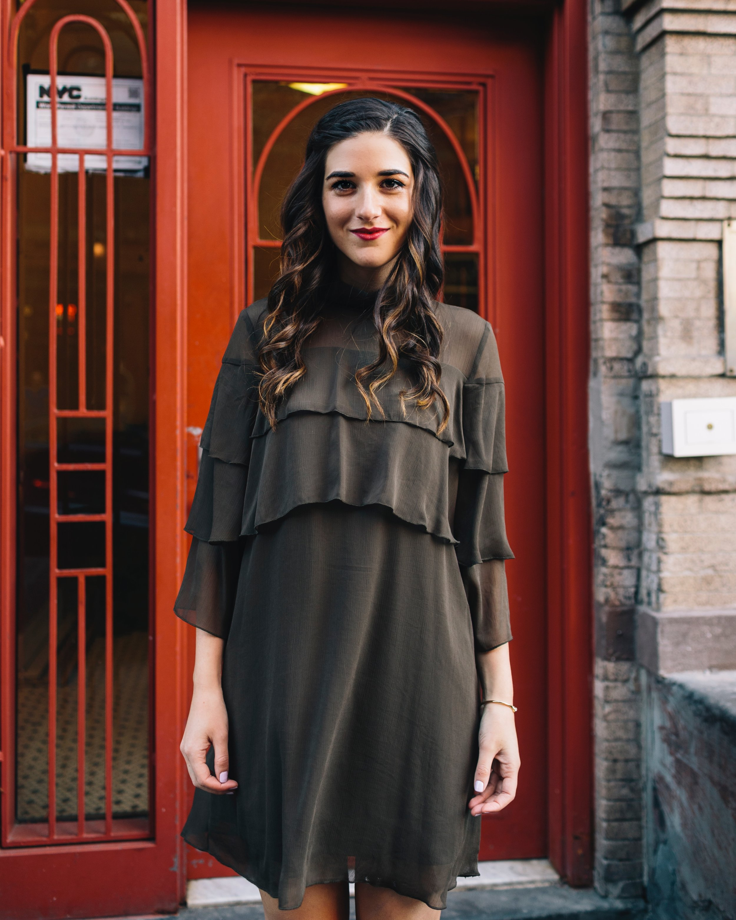 Olive Green Ruffle Dress + Lace Up Booties Payless Louboutins & Love Fashion Blog Esther Santer NYC Street Style Blogger Outfit OOTD Trendy Shoes Inspo Girly Fall Winter Hair Shopping Affordable Boots Photoshoot Wear Clothes Bracelet Pretty Beautiful.JPG