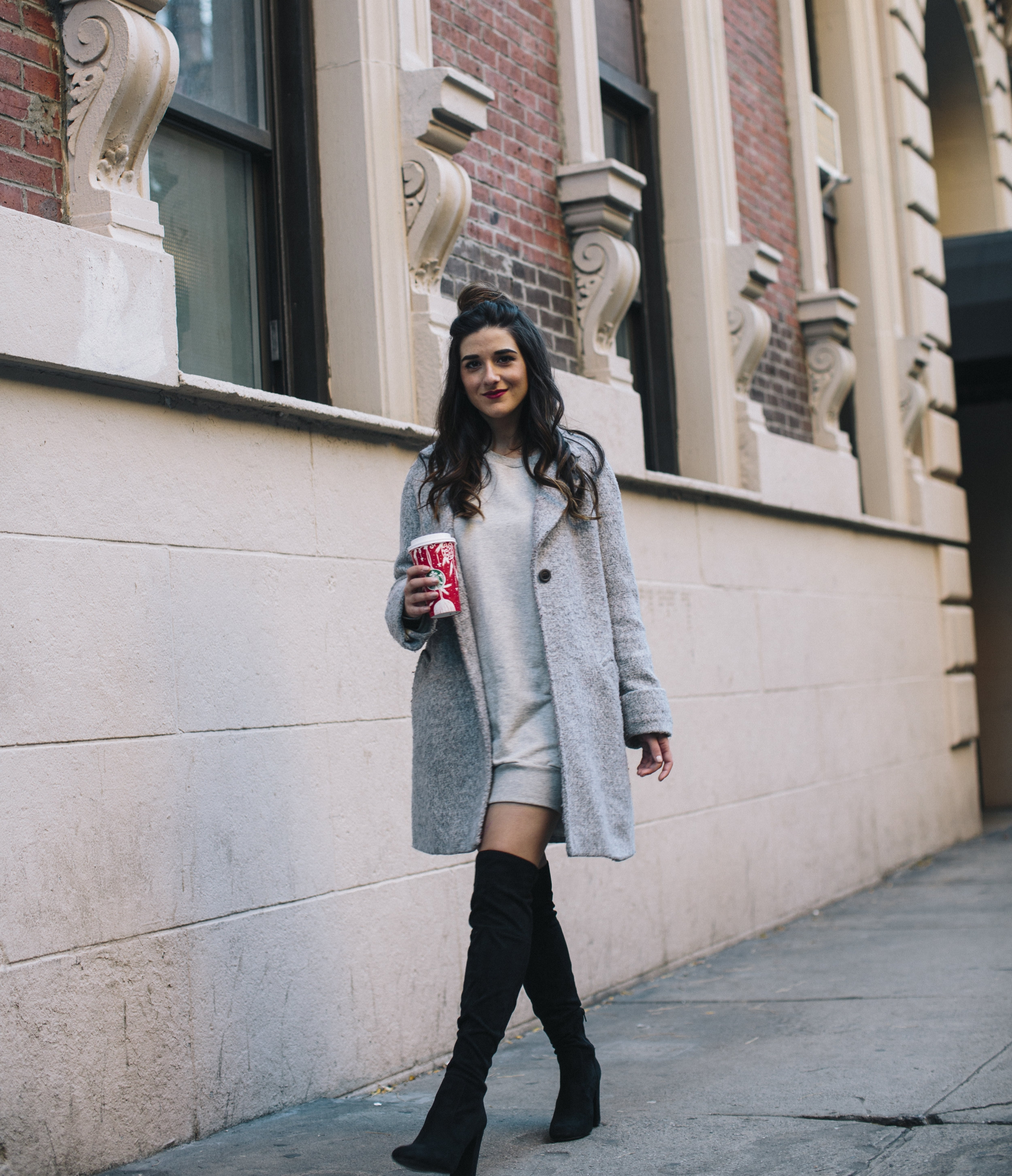 All Grey Look OTK Boots Why I Hate Fashion Week Esther Santer Fashion Blog Louboutins & Love NYC Street Style Blogger Outfit OOTD Trendy Sweatshirt Dress Topknot Coat Women Girl Shoes Shopping Zara Accessories Monochome Wear Beauty Winter Look Clothes.jpg