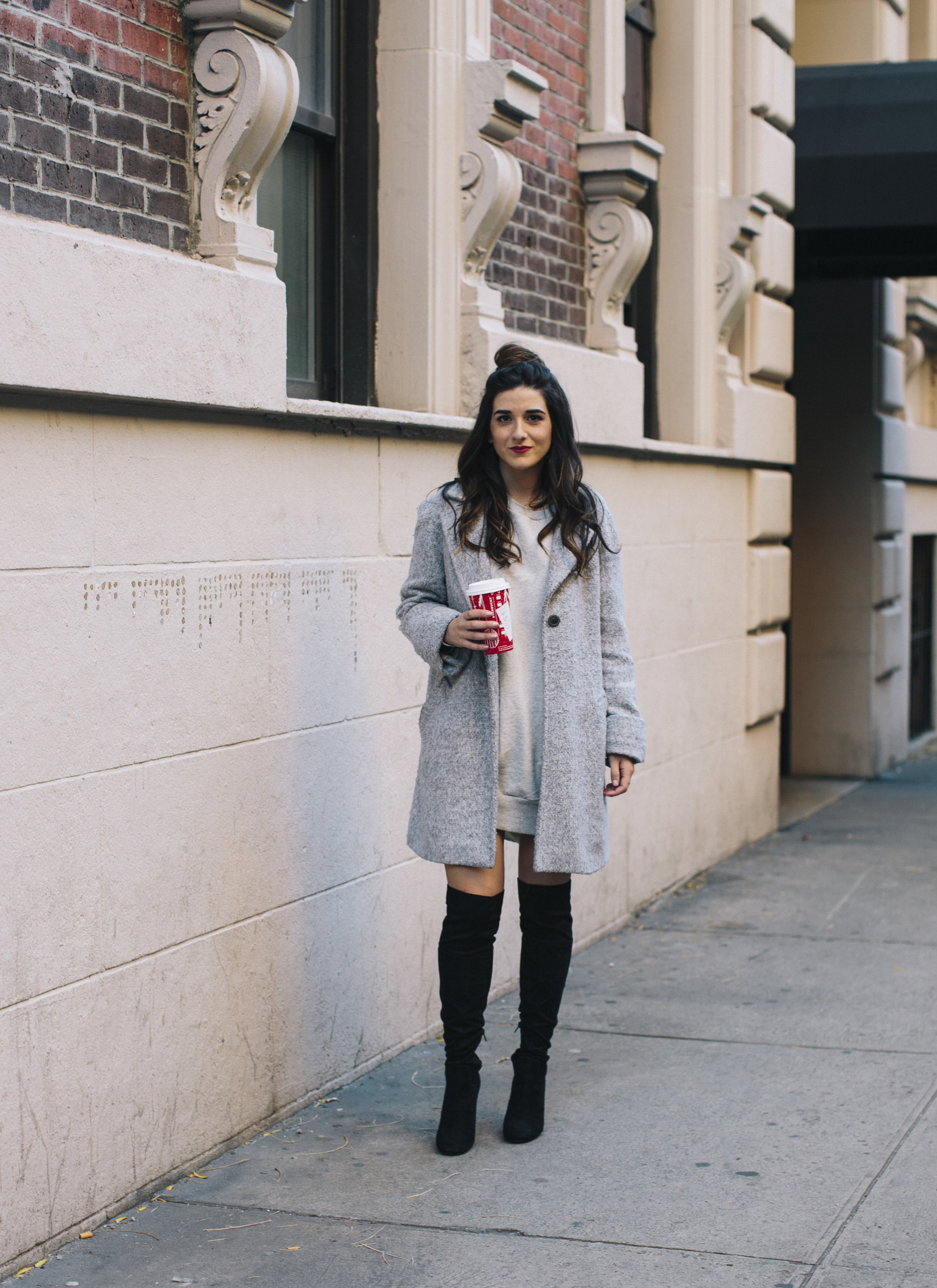 All Grey Look OTK Boots Why I Hate Fashion Week Esther Santer Fashion Blog Louboutins & Love NYC Street Style Blogger Outfit OOTD Trendy Sweatshirt Dress Topknot Coat Women Girl Shoes Shopping Zara Accessories Beauty Monochome Wear Winter Look Clothes.jpg