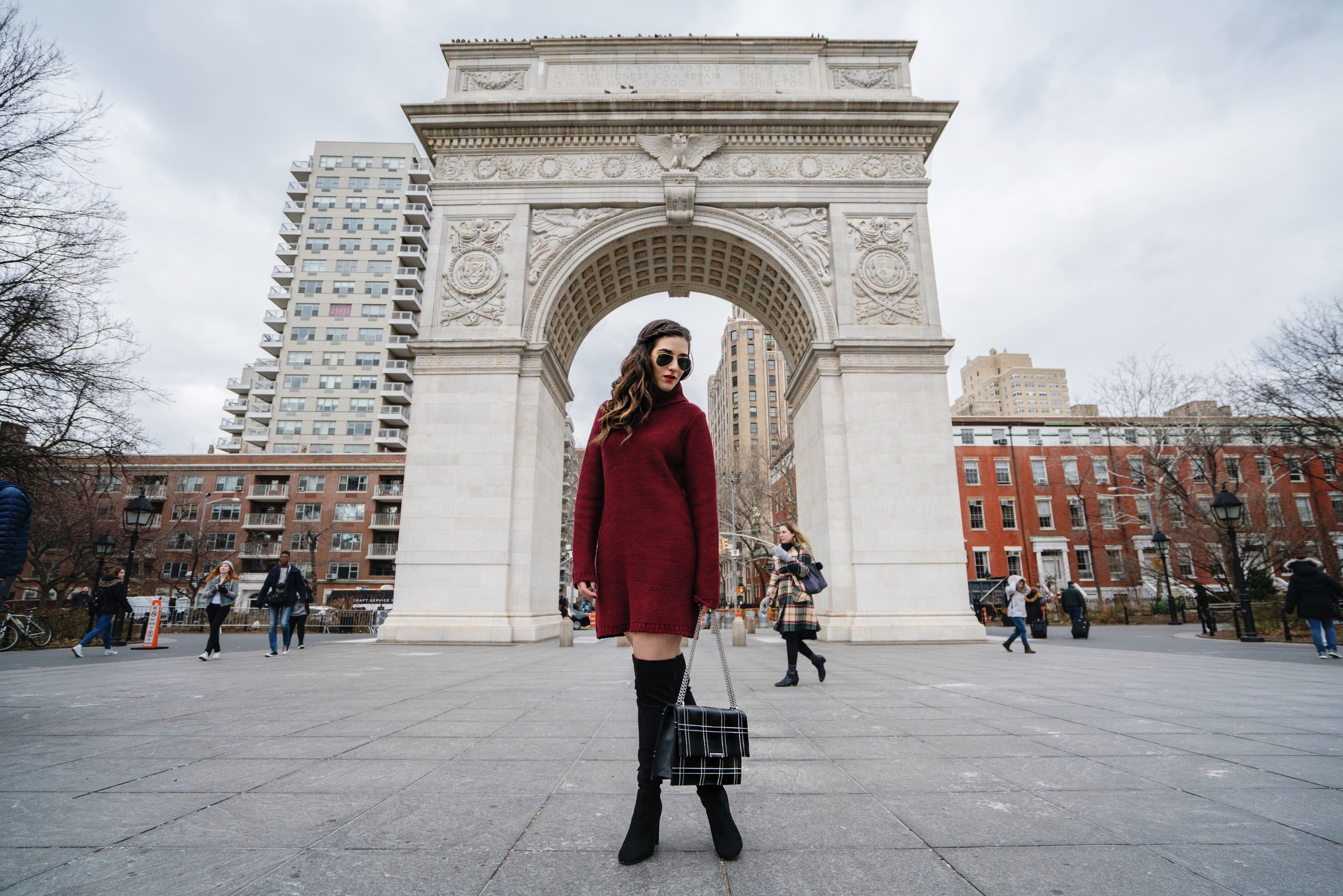 Maroon Sweater Dress OTK Boots My Biggest Blogging Mistake Esther Santer Fashion Blog NYC Street Style Blogger Outfit OOTD Trendy Red Girl Women Sunglasses RayBan Aviators Shopping Wearing Zara Casual Bag Grid Purse Inspo Photoshoot New York City Hair.JPG