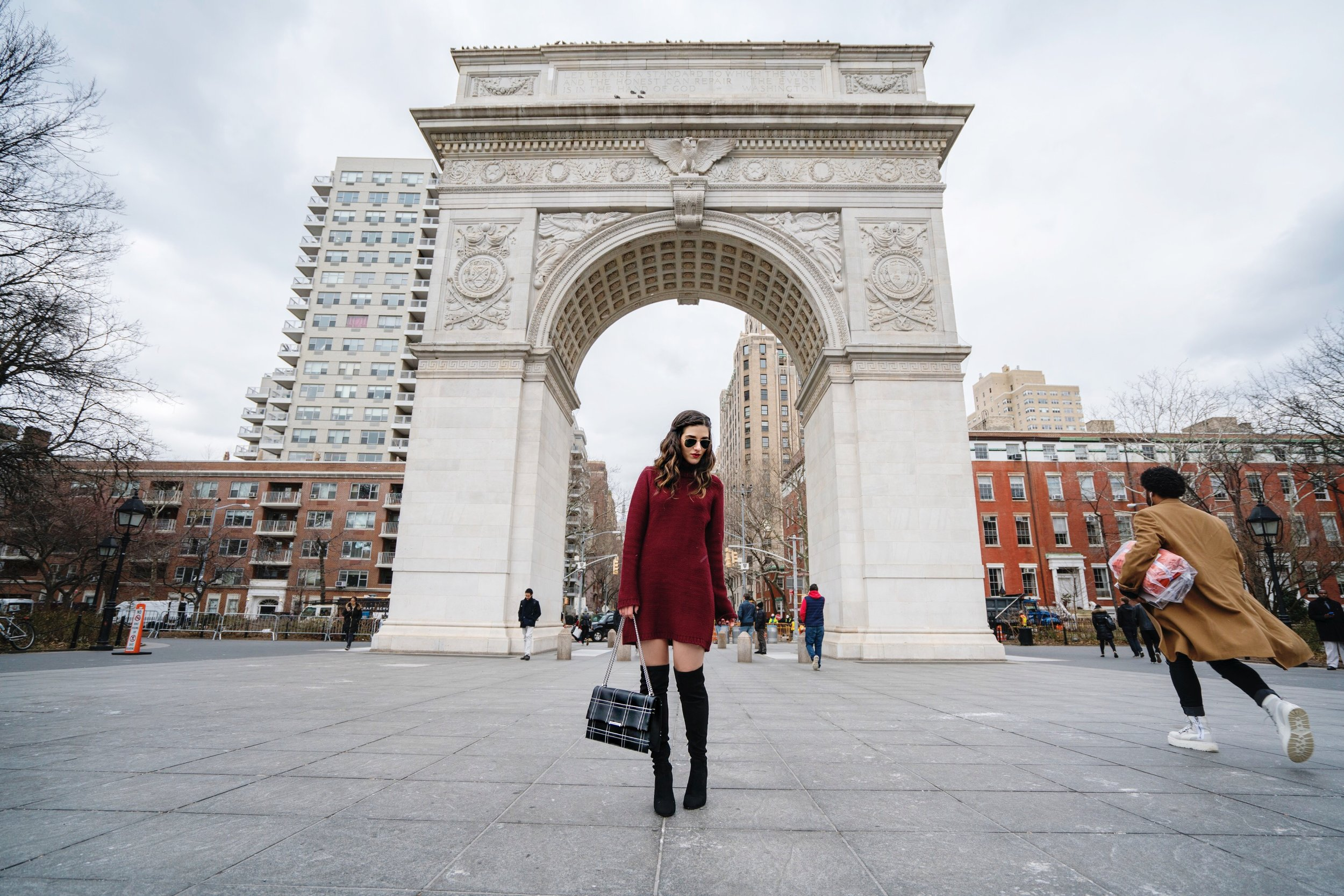 Maroon Sweater Dress OTK Boots My Biggest Blogging Mistake Esther Santer Fashion Blog NYC Street Style Blogger Outfit OOTD Trendy Red Girl Women Sunglasses RayBan Aviators Wearing Shopping Zara Casual Inspo Photoshoot New York City Grid Bag Purse Hair.JPG