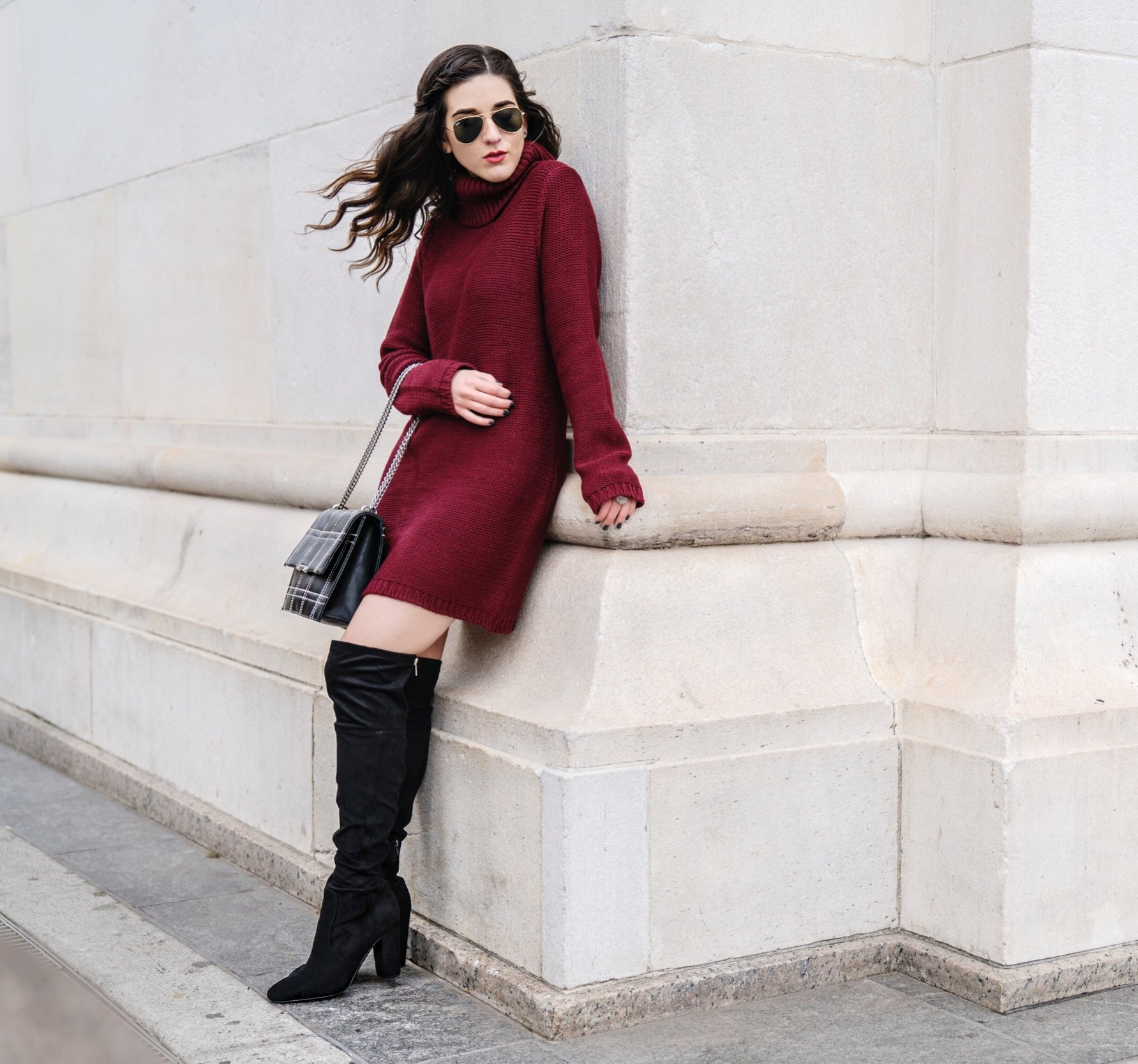 Maroon Sweater Dress OTK Boots My Biggest Blogging Mistake Esther Santer Fashion Blog NYC Street Style Blogger Outfit OOTD Trendy Red Girl Women Sunglasses RayBan Aviators Shopping Wearing Zara Casual Bag Grid Purse Photoshoot New York City Hair Inspo.JPG