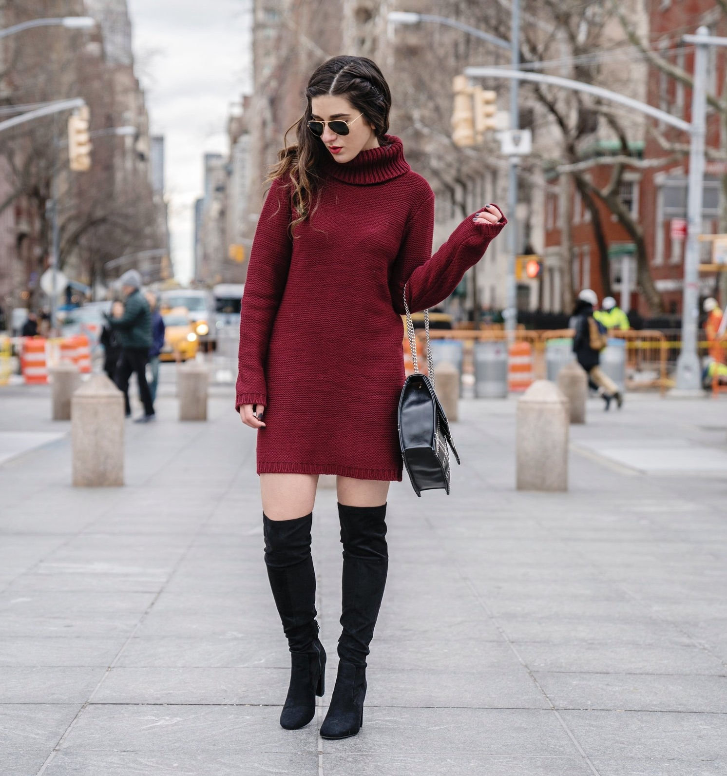 Maroon Sweater Dress OTK Boots My Biggest Blogging Mistake Esther Santer Fashion Blog NYC Street Style Blogger Outfit OOTD Trendy Red Girl Women Sunglasses RayBan Aviators Wearing Shopping Zara Casual Inspo Photoshoot New York City Bag Grid Purse Hair.JPG