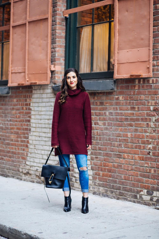 Maroon Sweater Dress Zac Posen Belay Bag 5 Tips On Balancing Work Blog And Social Life Esther Santer Fashion Blog NYC Street Style Blogger Outfit OOTD Trendy Girl Women Photoshoot Ripped Denim Jeans Booties Hair Inspo Handbag  Purse Shoes Turtleneck.JPG
