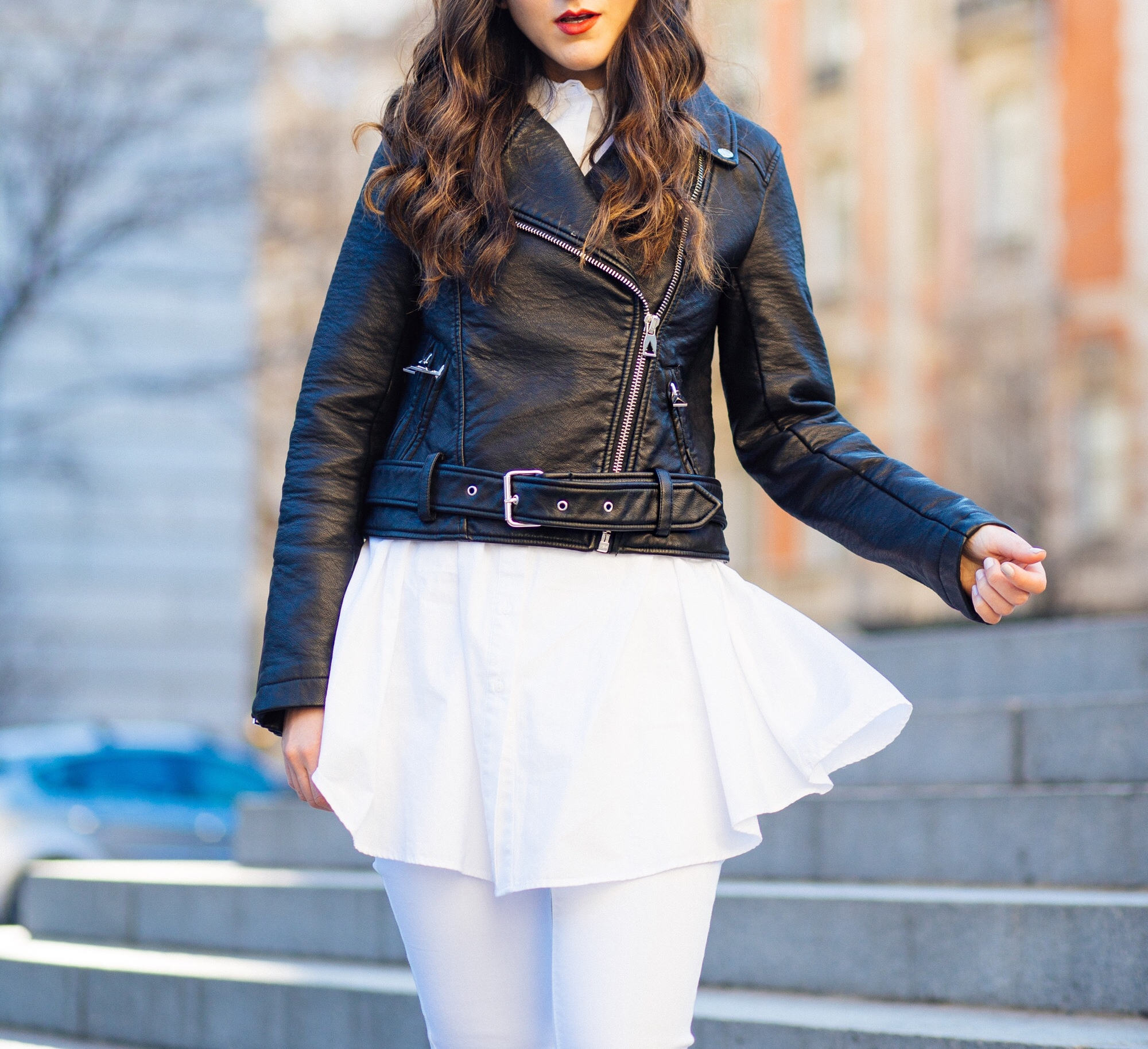 Tassel Slides + Moto Jacket What It's Really Like To Work In Fashion Esther Santer Fashion Blog NYC Street Style Blogger Outfit OOTD Trendy Leather White Pants Girl Women Hair Wear Shop  Inspo Shoes NYC Photoshoot Classic Winter Fall Look Inspiration.JPG