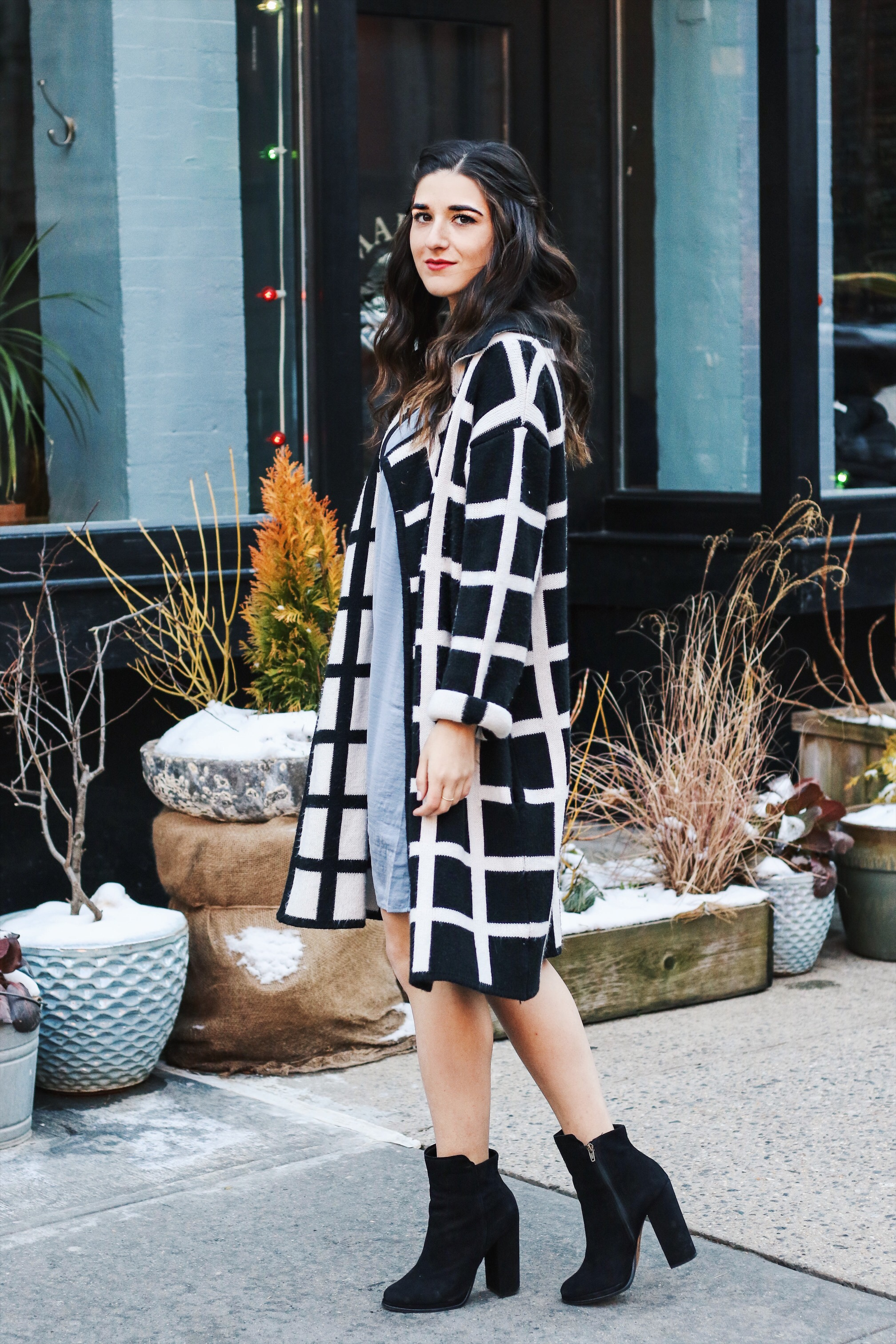 Slip Dress Oversized Cardigan The Job That Got Away Esther Santer Fashion Blog NYC Street Style Blogger Outfit OOTD Trendy Blue Black White Girl Women Bag Purse Henri Bendel Shop Buy Shoes Ankle Boots Inspo Photoshoot Winter Wearing Hair Beauty Layers.JPG