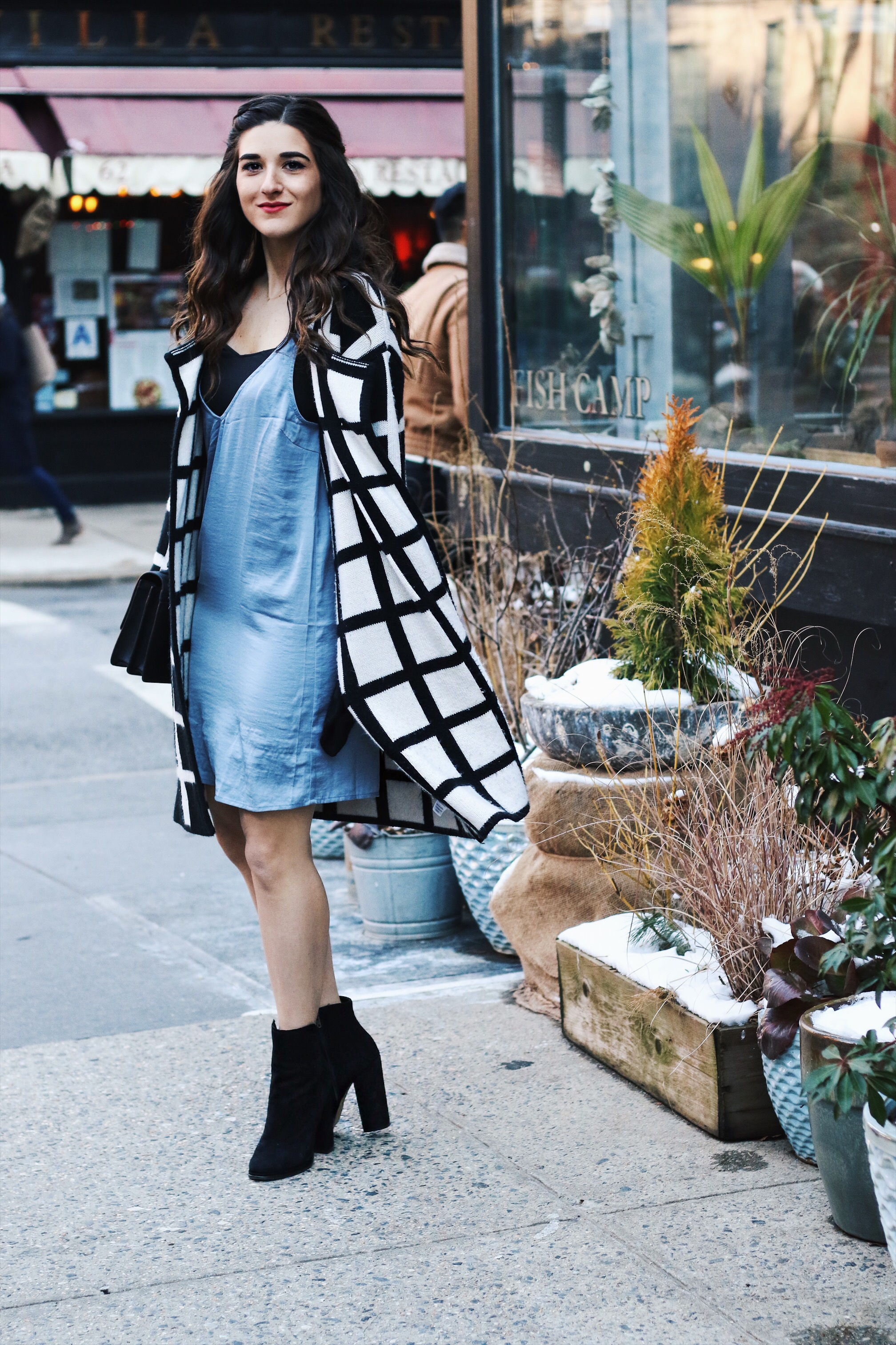 Slip Dress Oversized Cardigan The Job That Got Away Esther Santer Fashion Blog NYC Street Style Blogger Outfit OOTD Trendy Blue Black White Girl Women Bag Purse Henri Bendel Shop Buy Shoes Ankle Boots Inspo Photoshoot Winter Wearing Hair Layers Beauty.JPG
